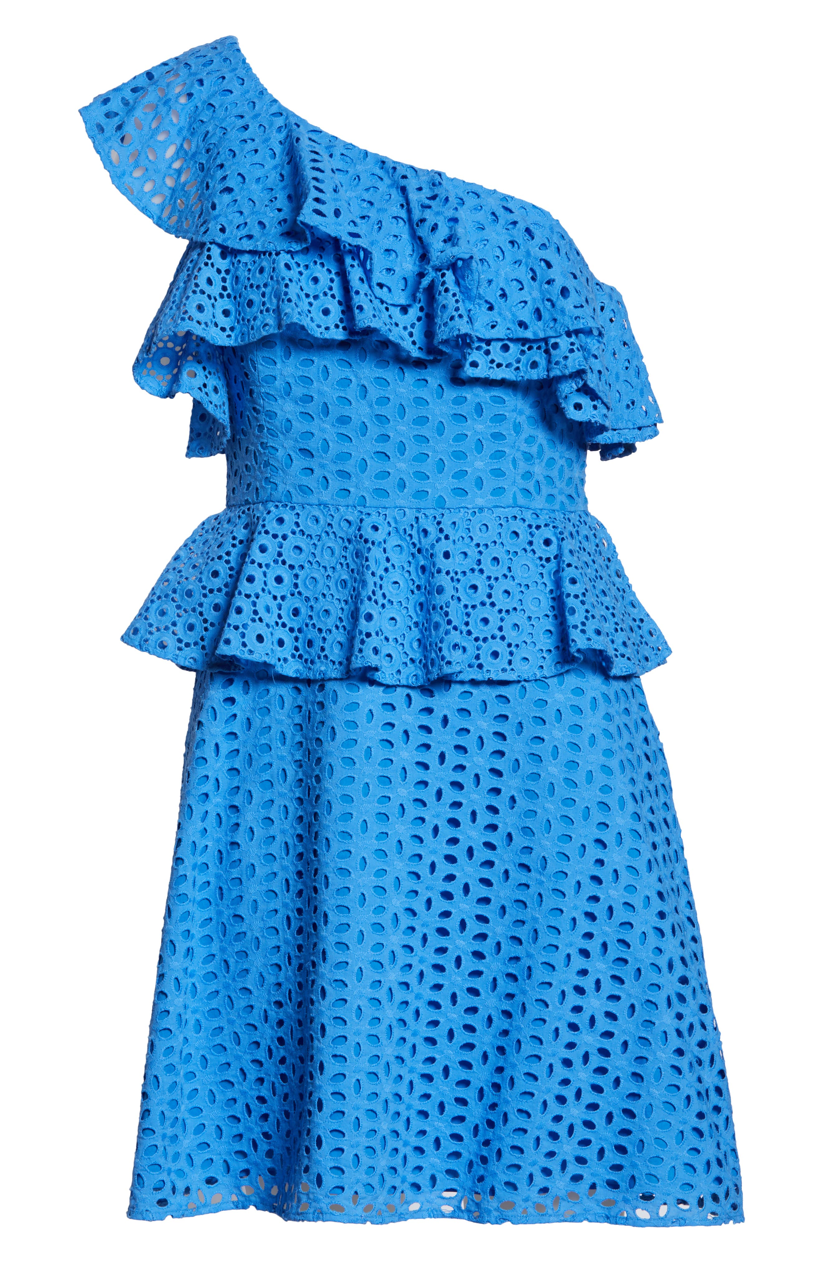 LILLY PULITZER<SUP>®</SUP>, Josey Eyelet One-Shoulder Dress, Alternate thumbnail 6, color, COASTAL BLUE OVAL FLOWER