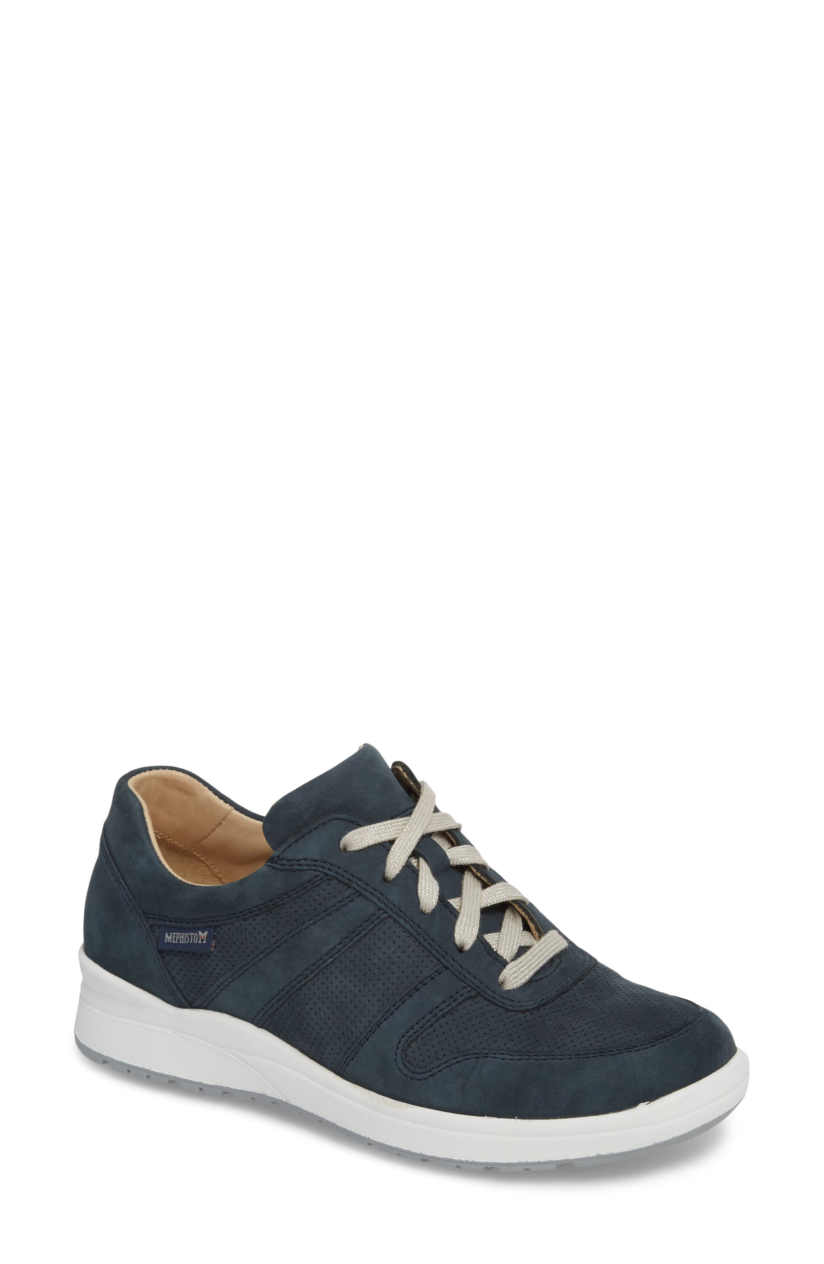 MEPHISTO, Rebecca Perforated Sneaker, Main thumbnail 1, color, NAVY