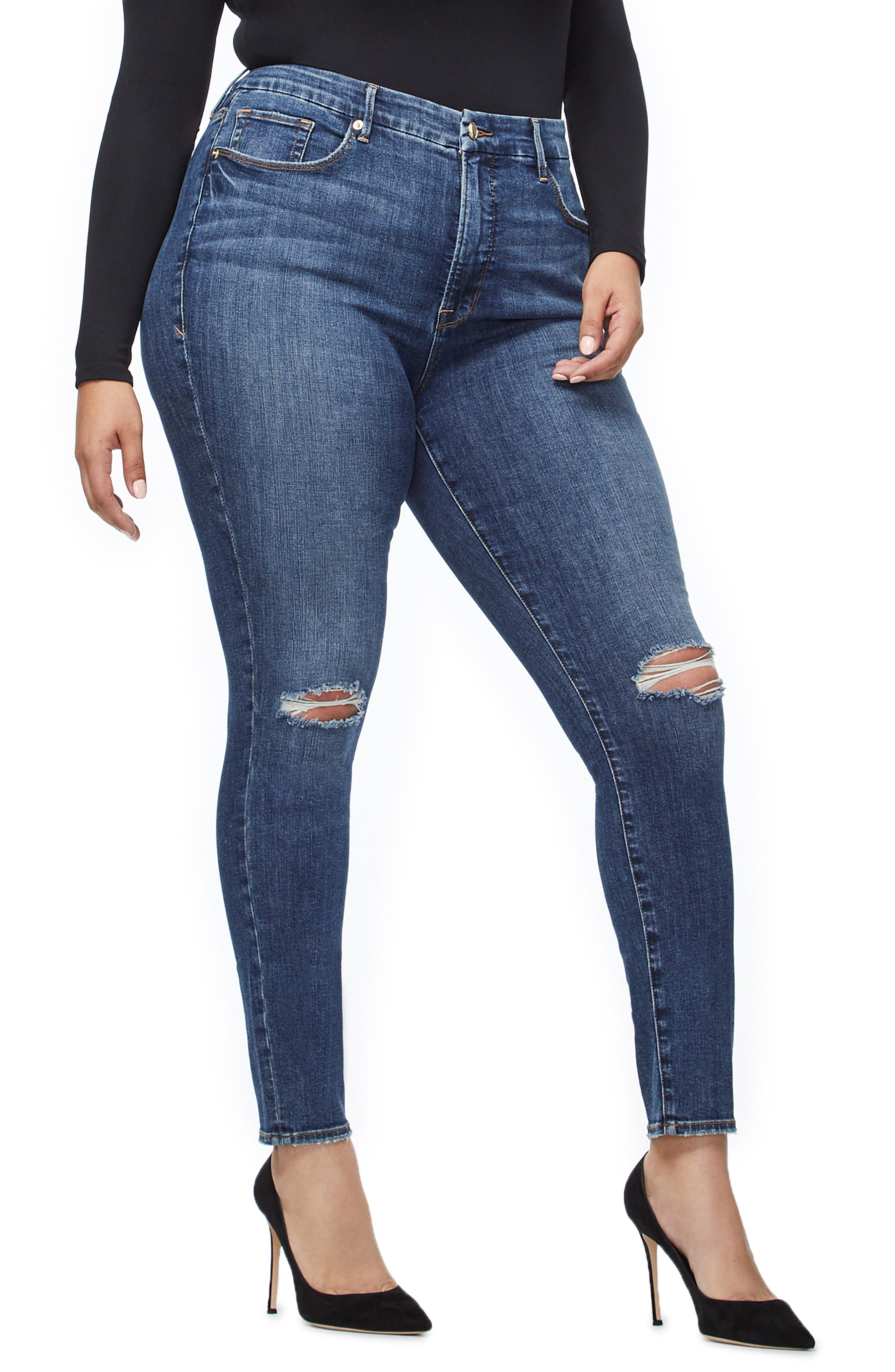 GOOD AMERICAN, Good Legs Ripped High Waist Skinny Jeans, Alternate thumbnail 7, color, BLUE208