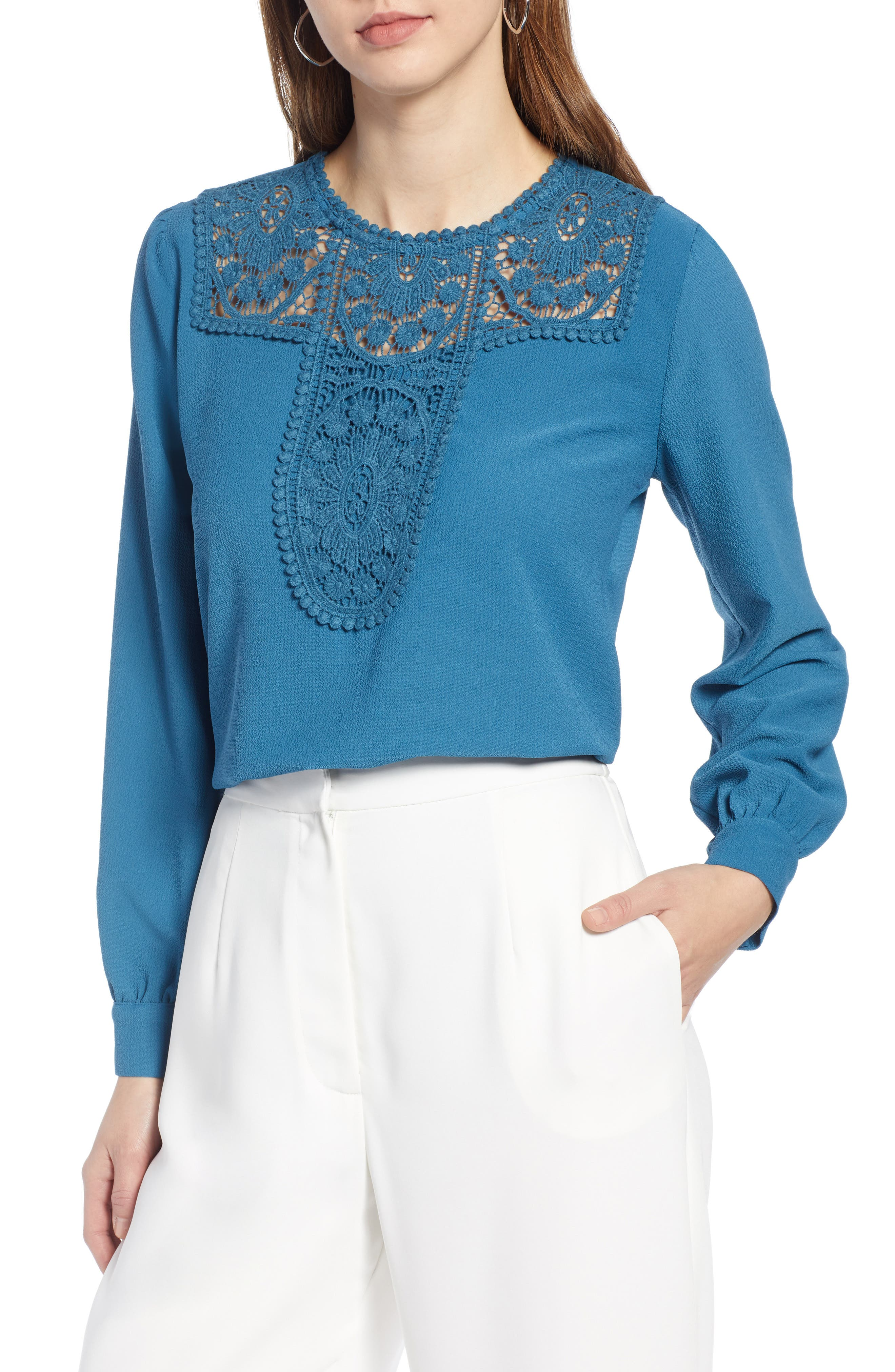 HALOGEN<SUP>®</SUP>, Lace & Crepe Blouse, Main thumbnail 1, color, DARK TEAL