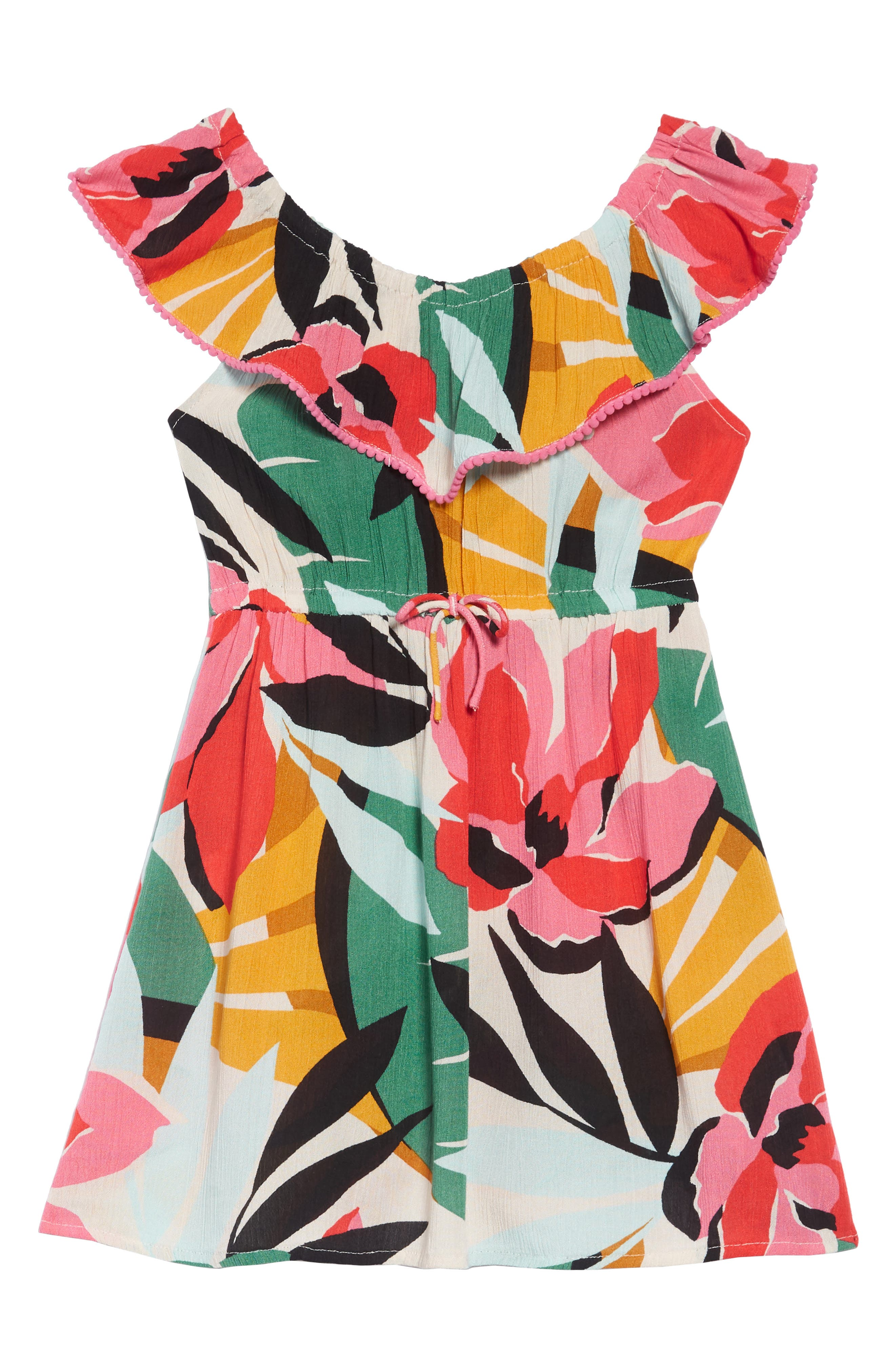 BILLABONG, Under the Palms Ruffle Dress, Alternate thumbnail 2, color, MULTI