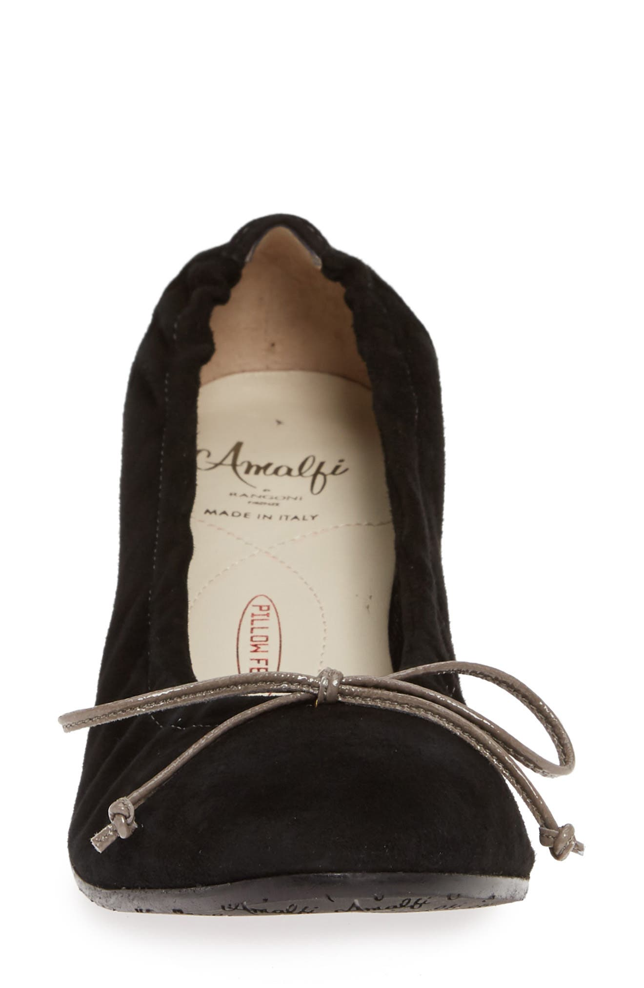AMALFI BY RANGONI, Roncade Bow Pump, Alternate thumbnail 4, color, BLACK SUEDE