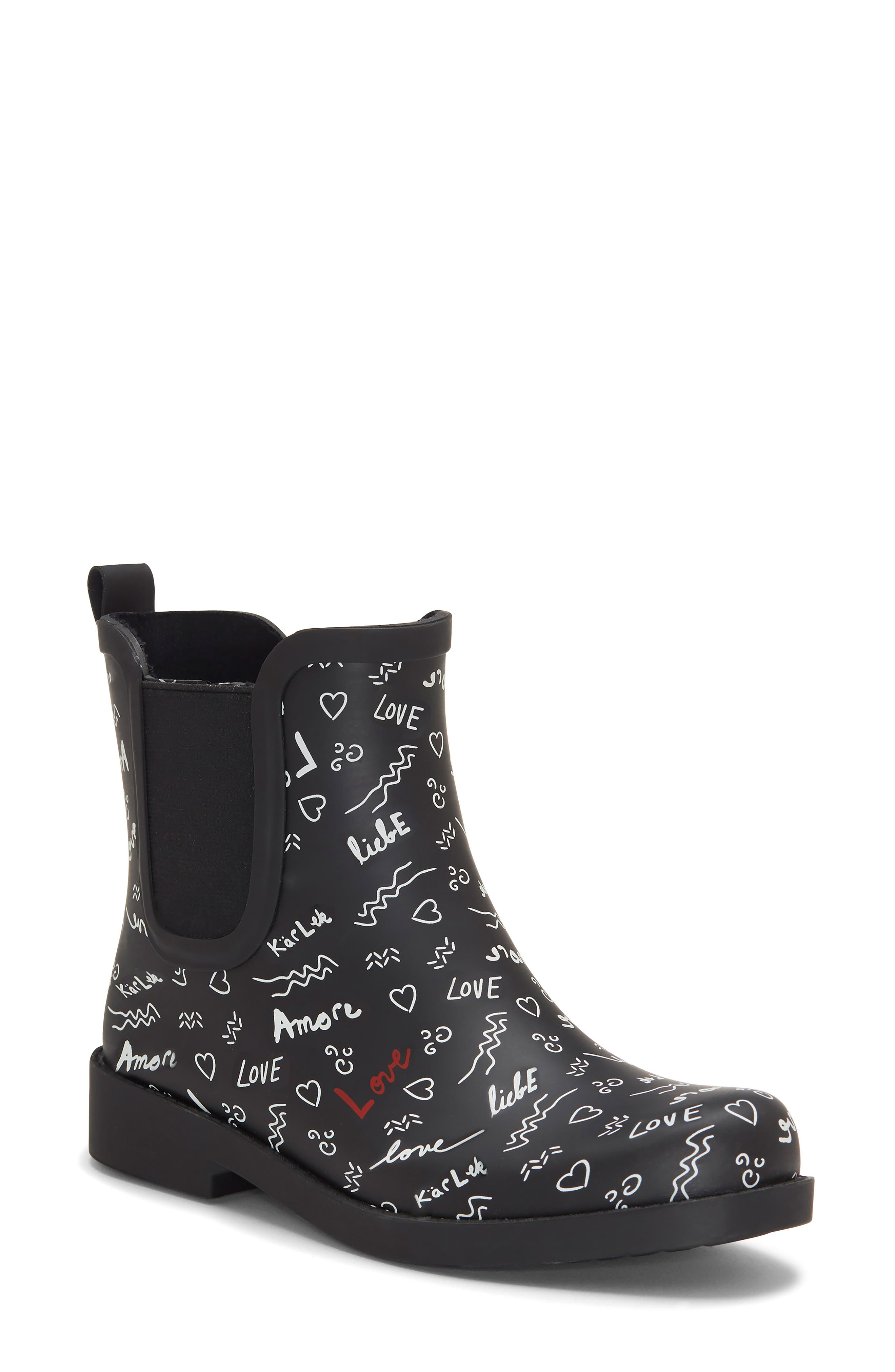 ED ELLEN DEGENERES, Wallita Rain Boot, Main thumbnail 1, color, BLACK/ WHITE MATTE RUBBER