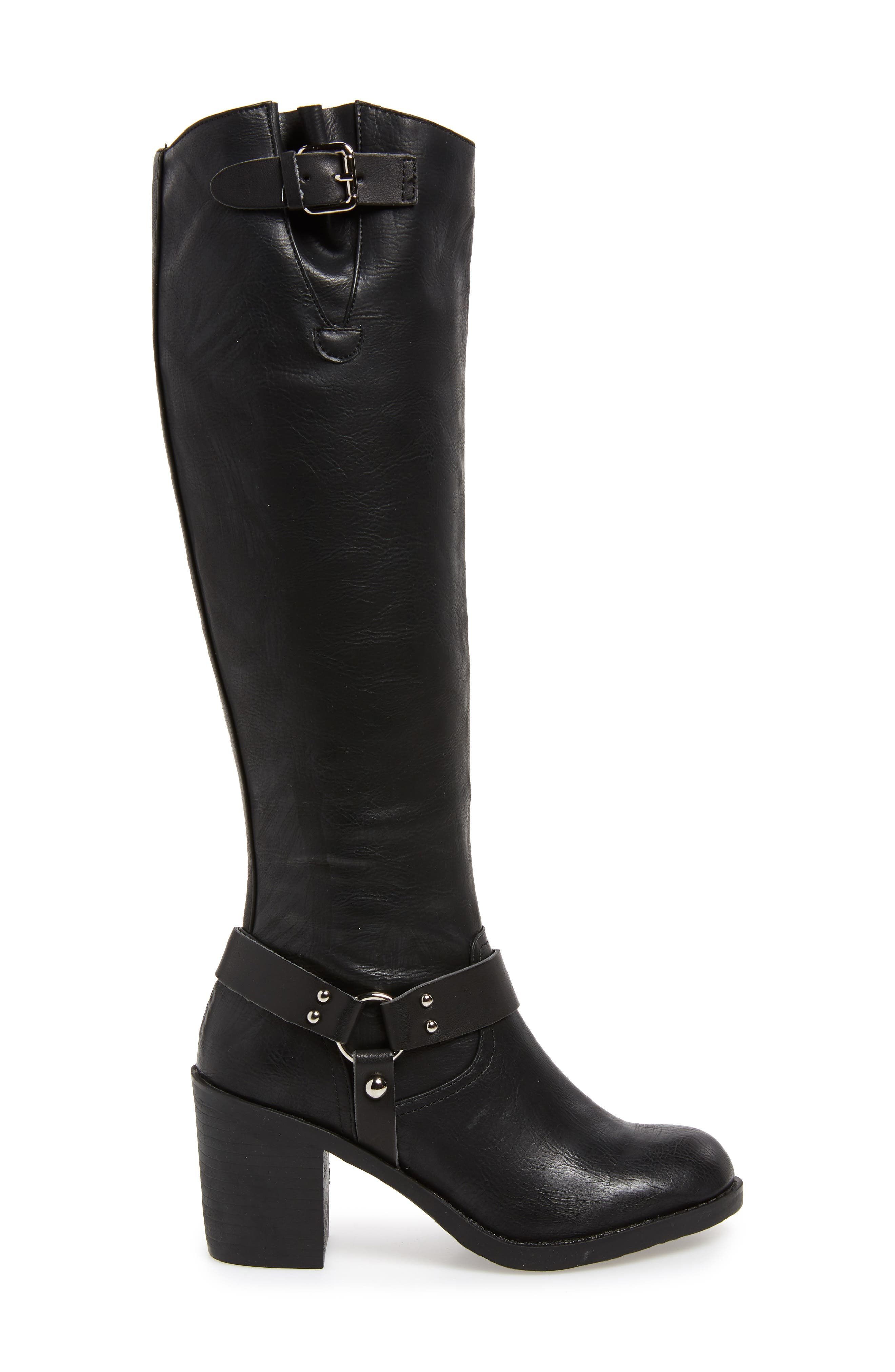 SBICCA, Dimarco Knee High Boot, Alternate thumbnail 3, color, BLACK FAUX LEATHER