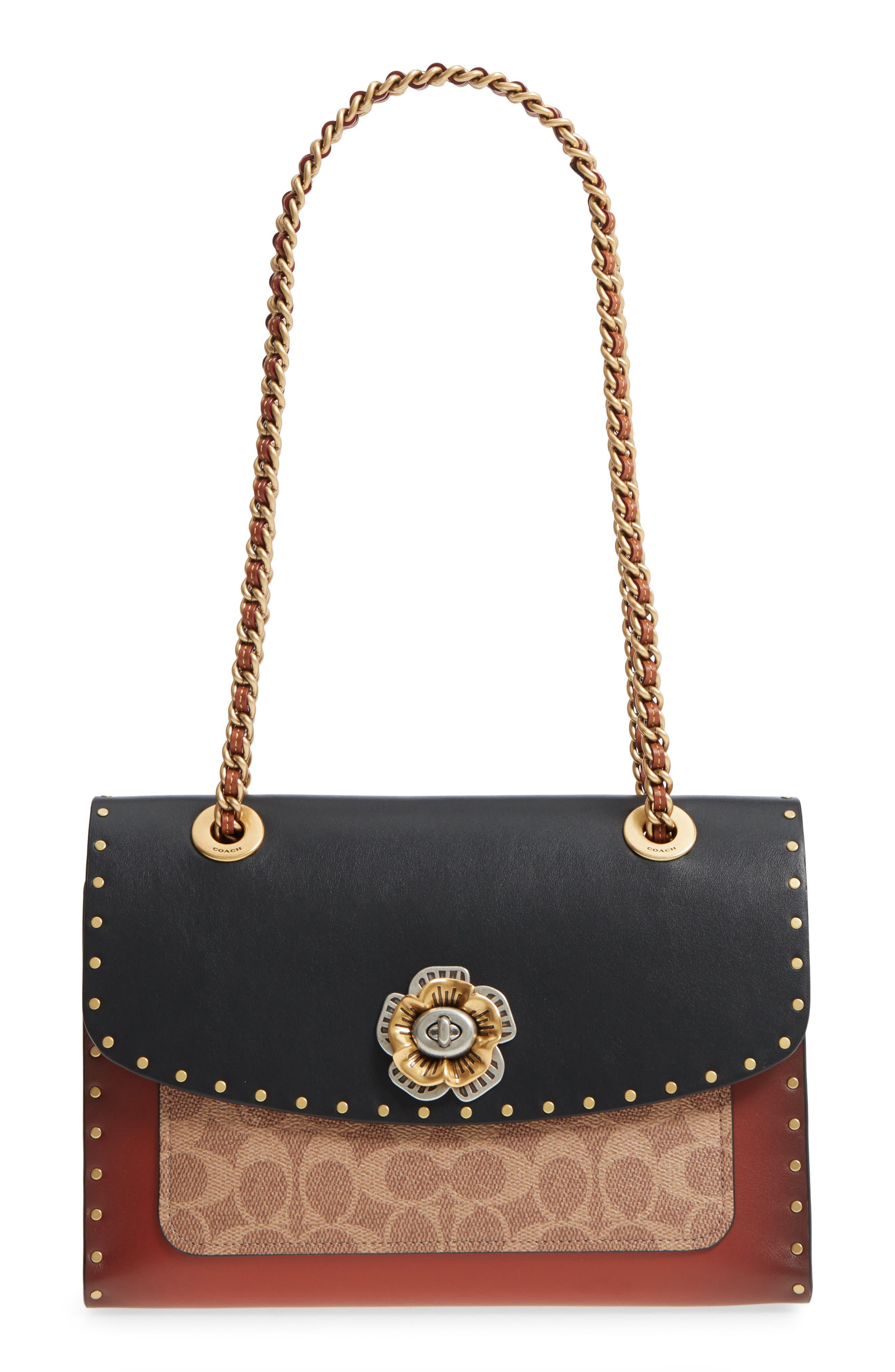COACH, Parker Leather & Genuine Snakeskin Shoulder Bag, Main thumbnail 1, color, BLACK MULTI