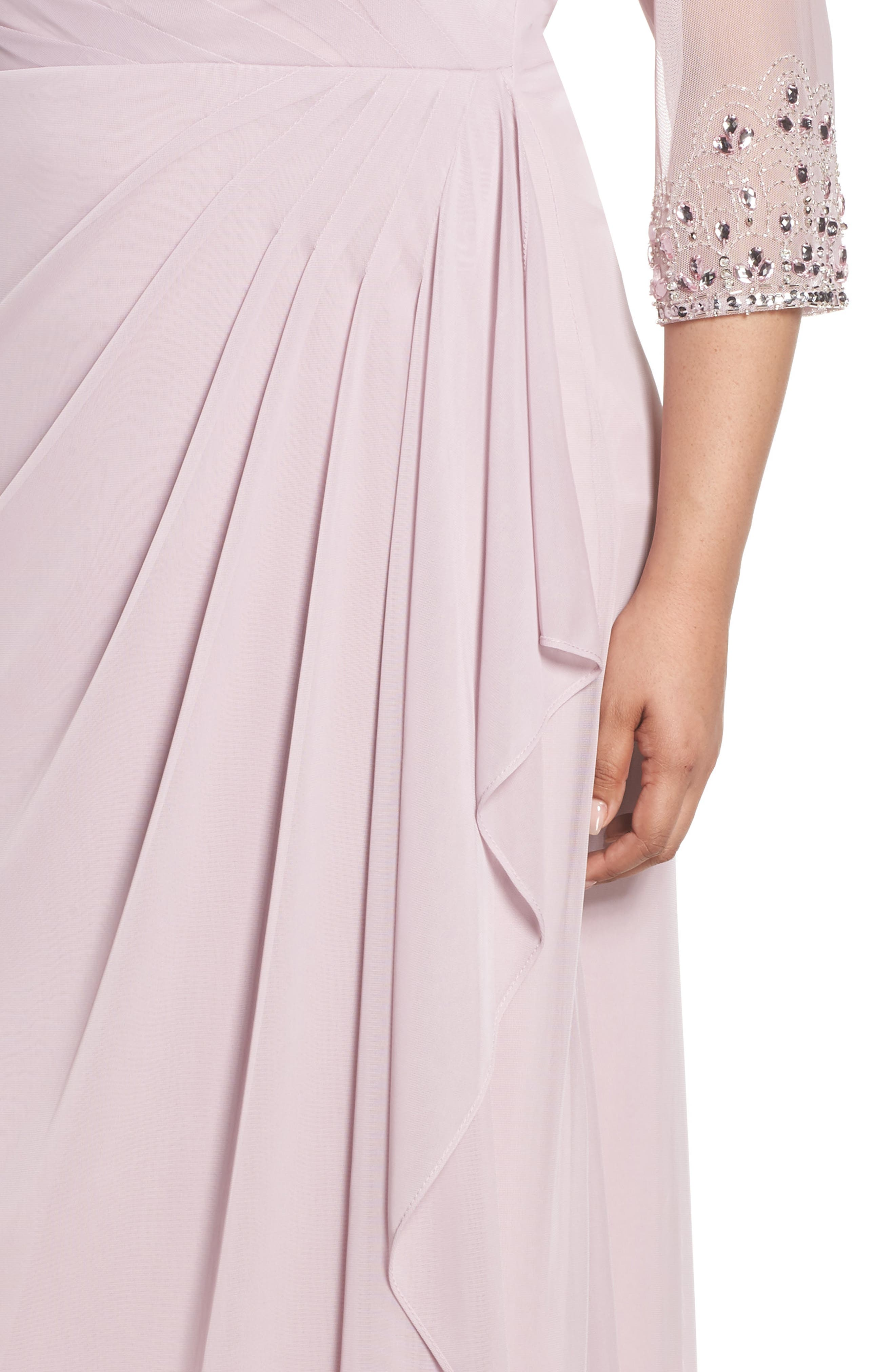 ALEX EVENINGS, Beaded Illusion Neck A-Line Gown, Alternate thumbnail 5, color, SMOKEY ORCHID