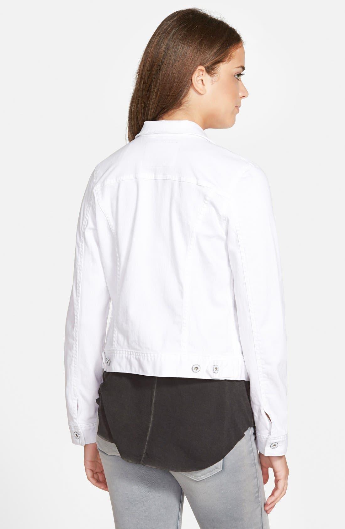 AG, 'Robyn' Denim Jacket, Alternate thumbnail 8, color, WHITE