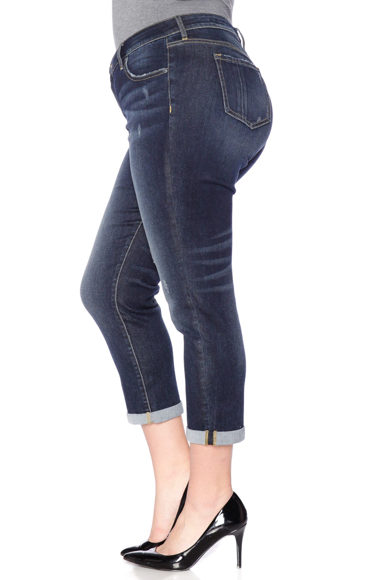 SLINK JEANS, Stretch Ankle Boyfriend Jeans, Alternate thumbnail 4, color, BELLA