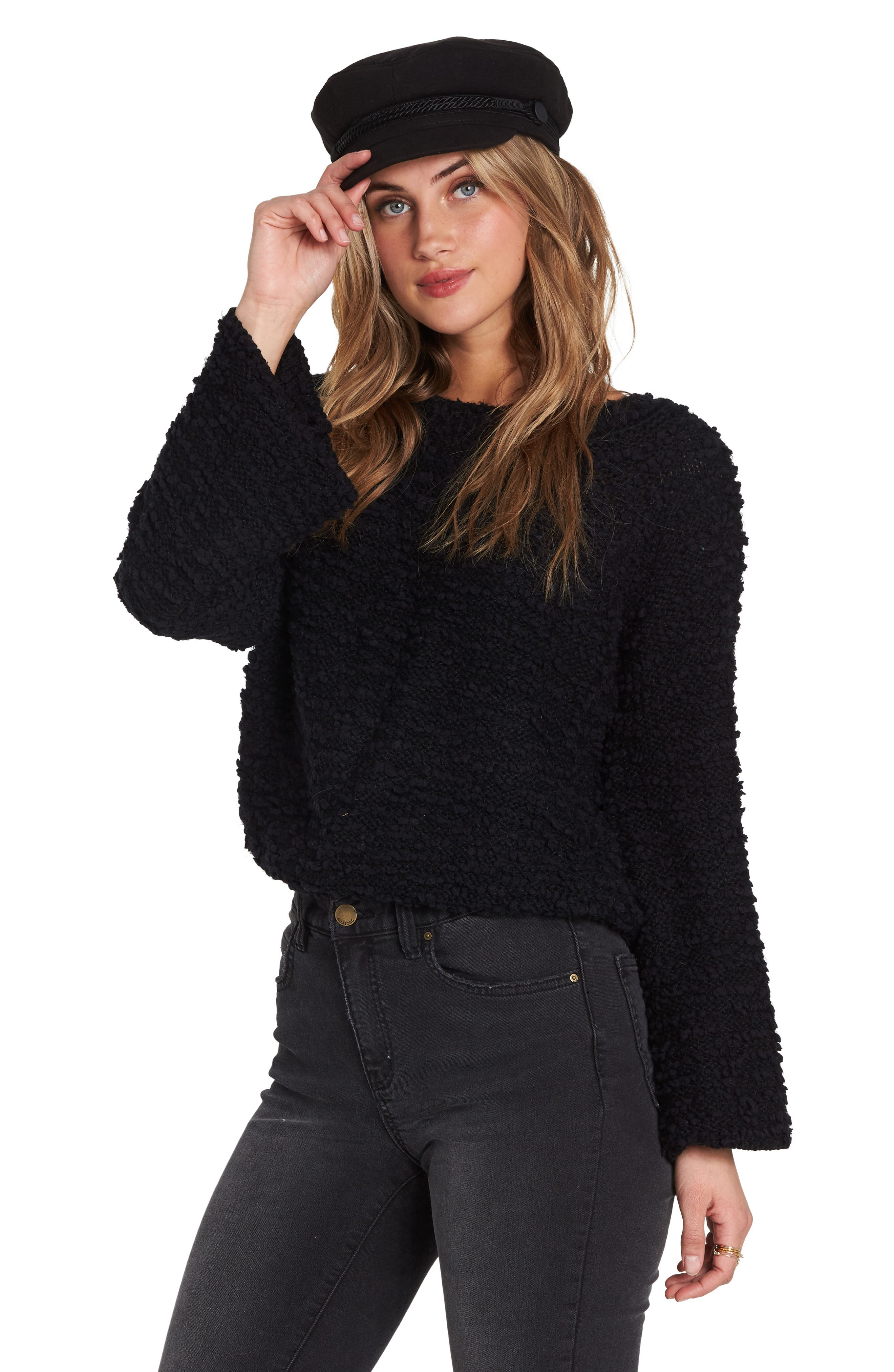 BILLABONG, Off the Beat Off the Shoulder Sweater, Alternate thumbnail 3, color, 001