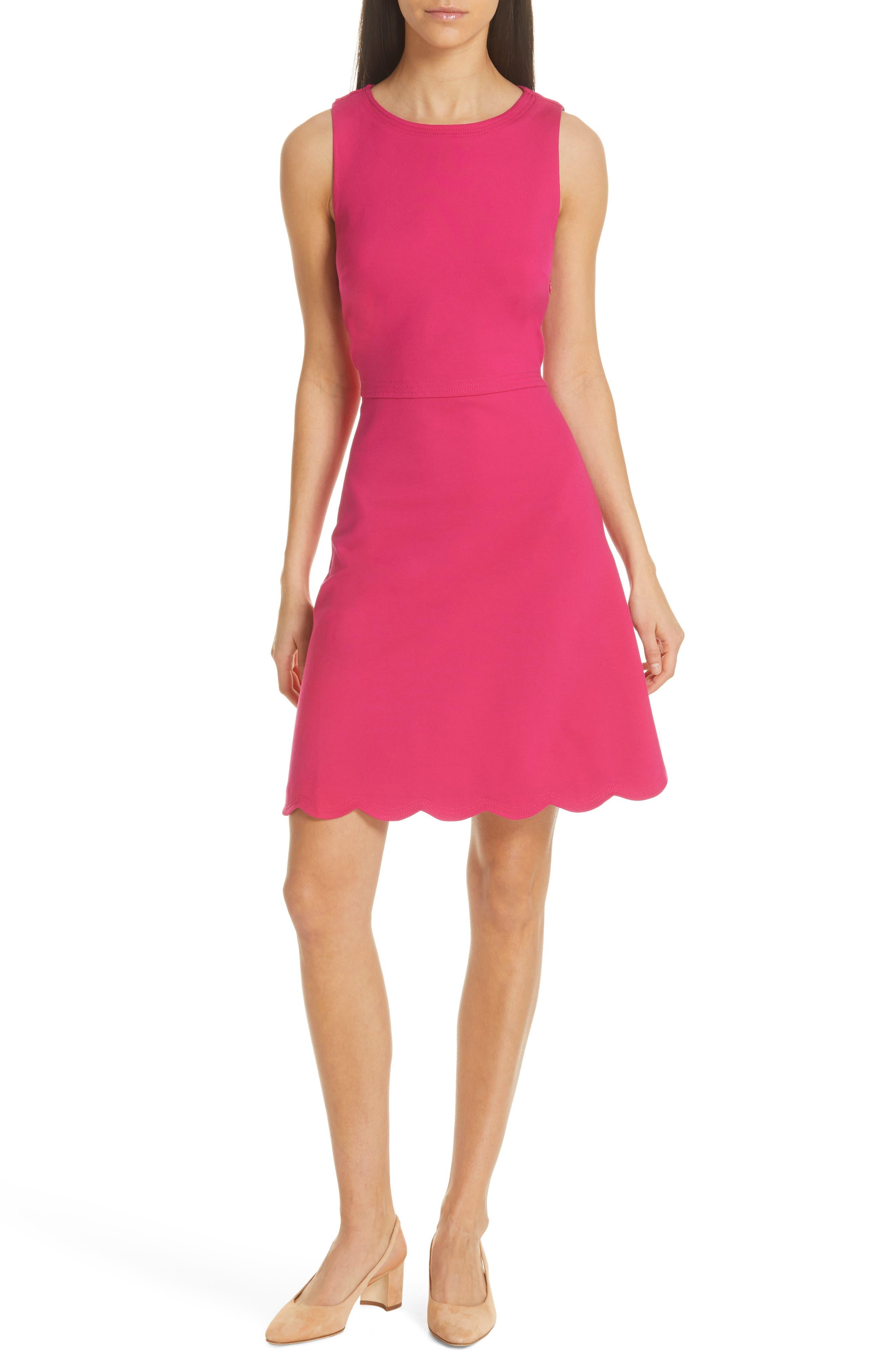 Kate Spade New York Scalloped Ponte Dress, Pink