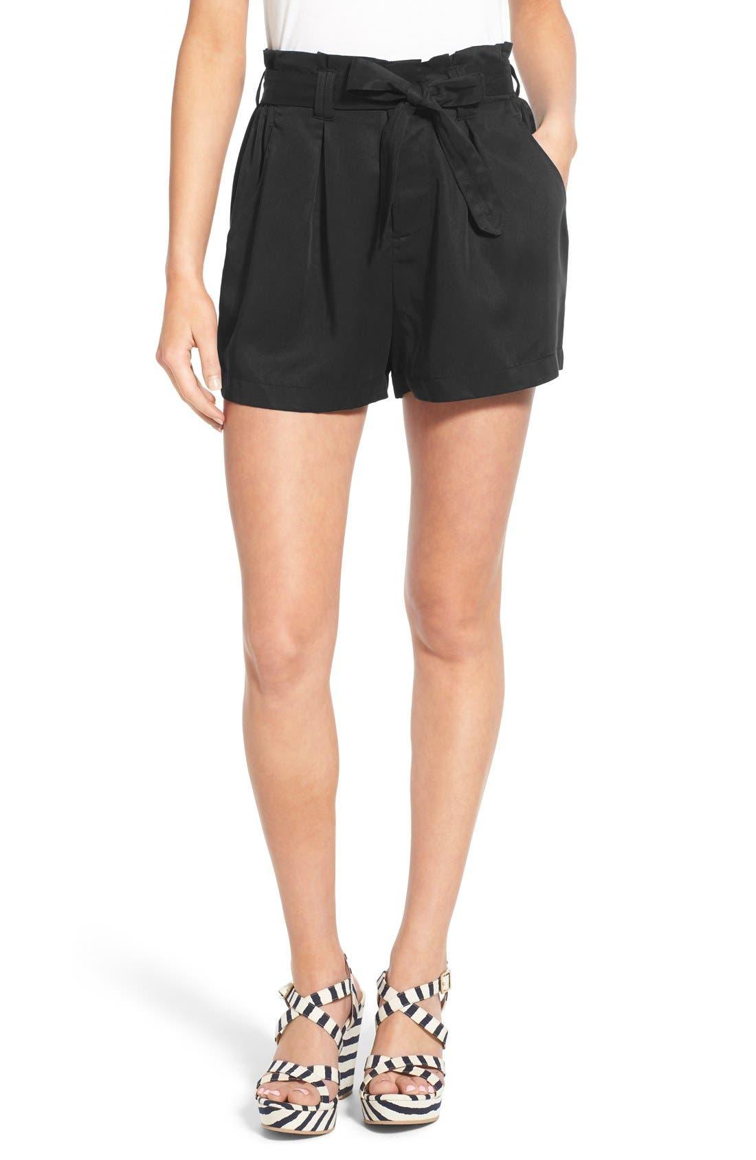 CHLOE & KATIE Paperbag Shorts, Main, color, 001