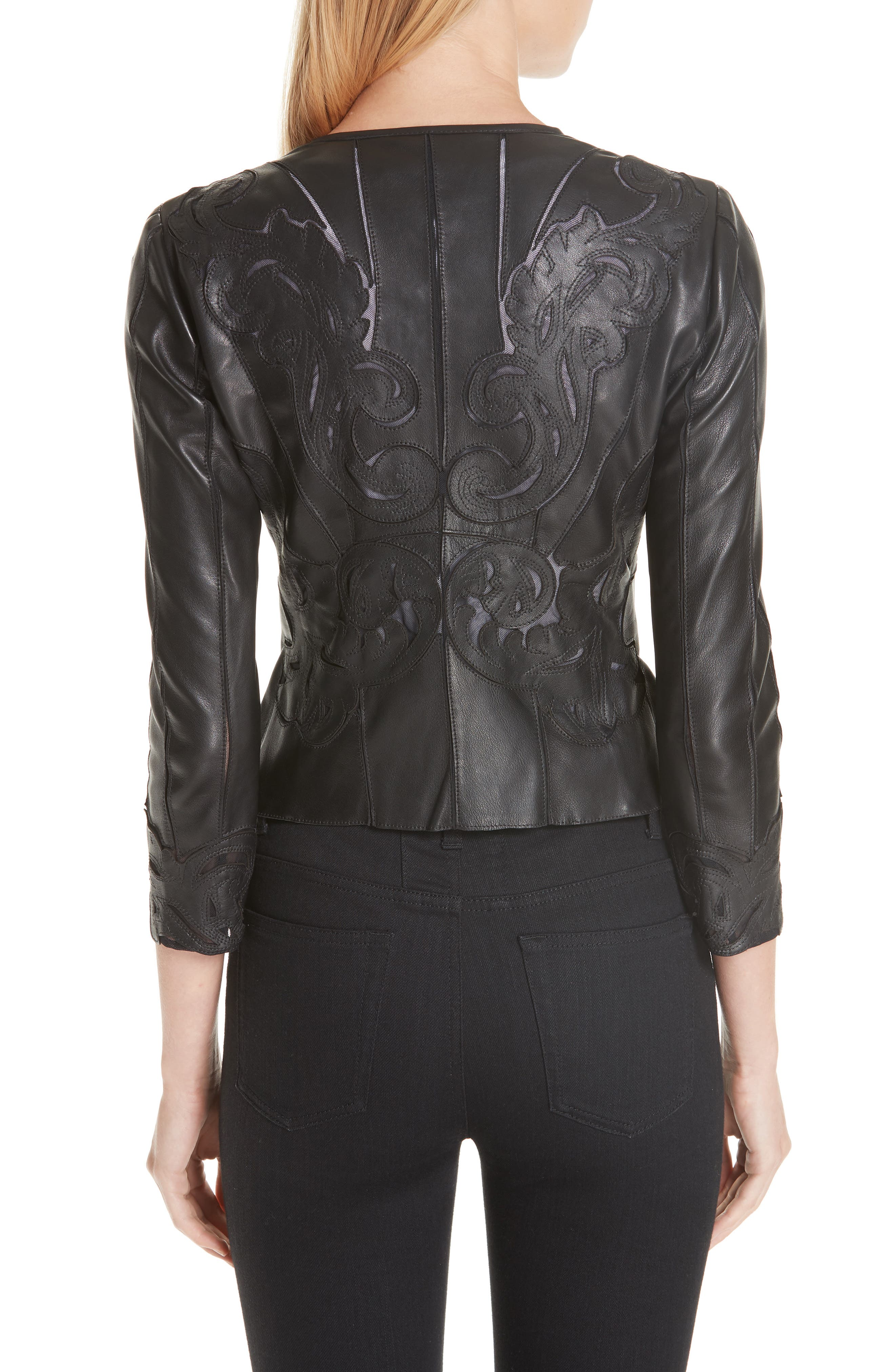 VERSACE COLLECTION, Fitted Leather Jacket, Alternate thumbnail 2, color, BLACK