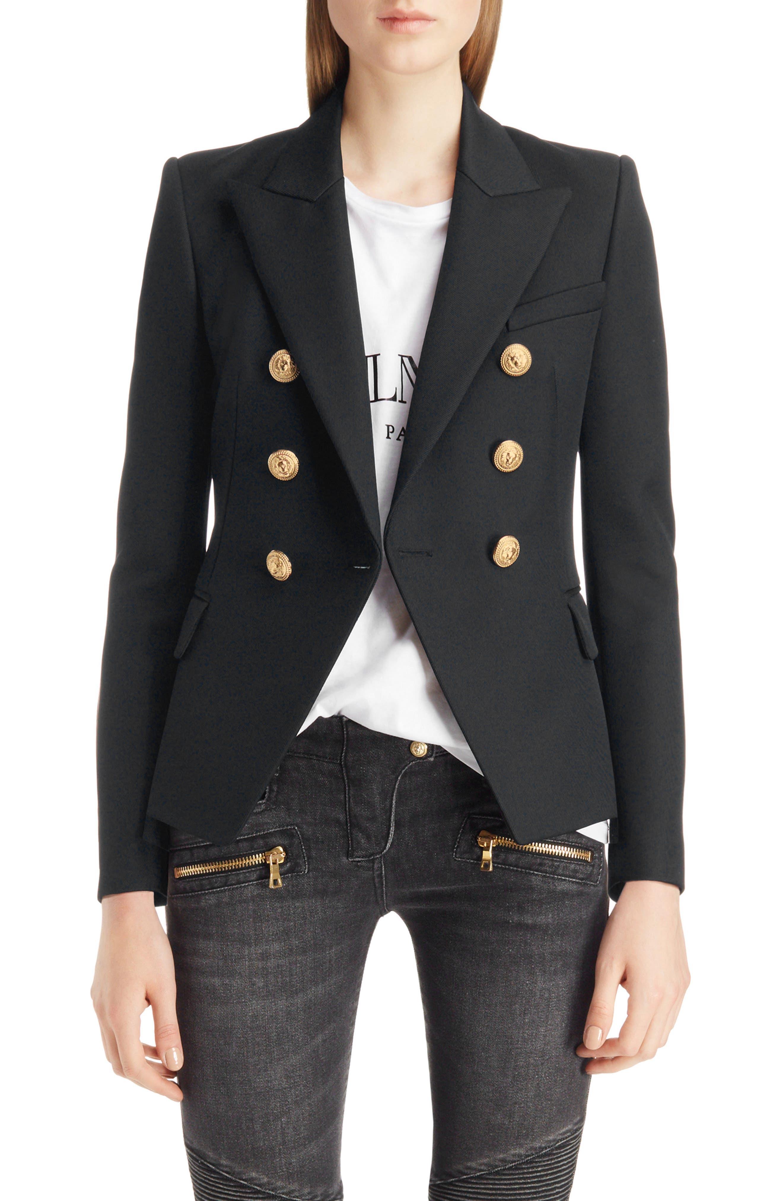 BALMAIN, Double Breasted Wool Blazer, Main thumbnail 1, color, BLACK/GOLD