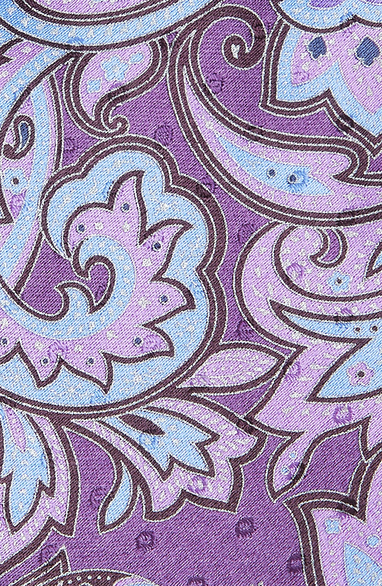 ERMENEGILDO ZEGNA, Paisley Silk Tie, Alternate thumbnail 2, color, PURPLE