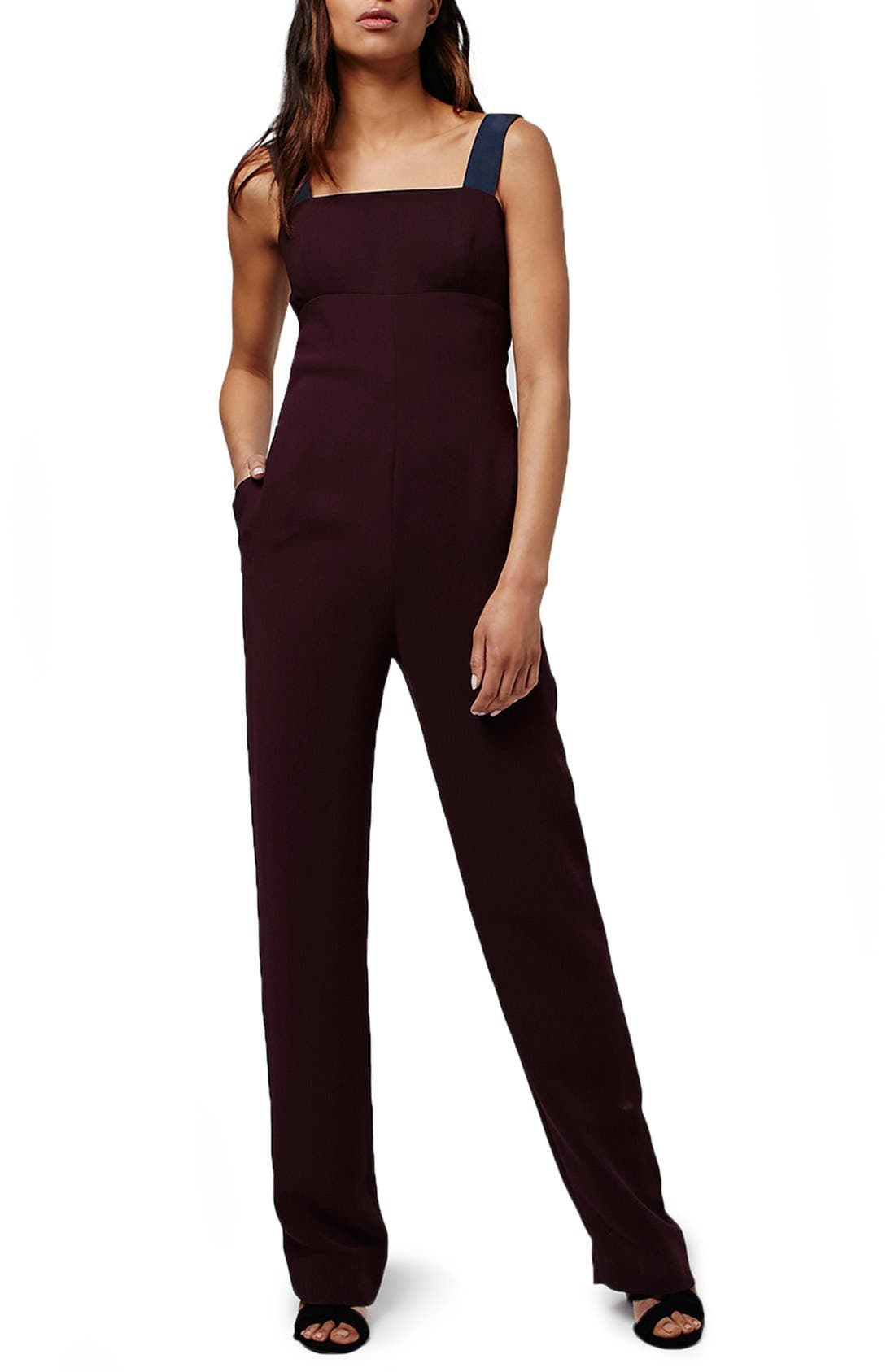 TOPSHOP, Cutout Back Pinafore Jumpsuit, Main thumbnail 1, color, 930