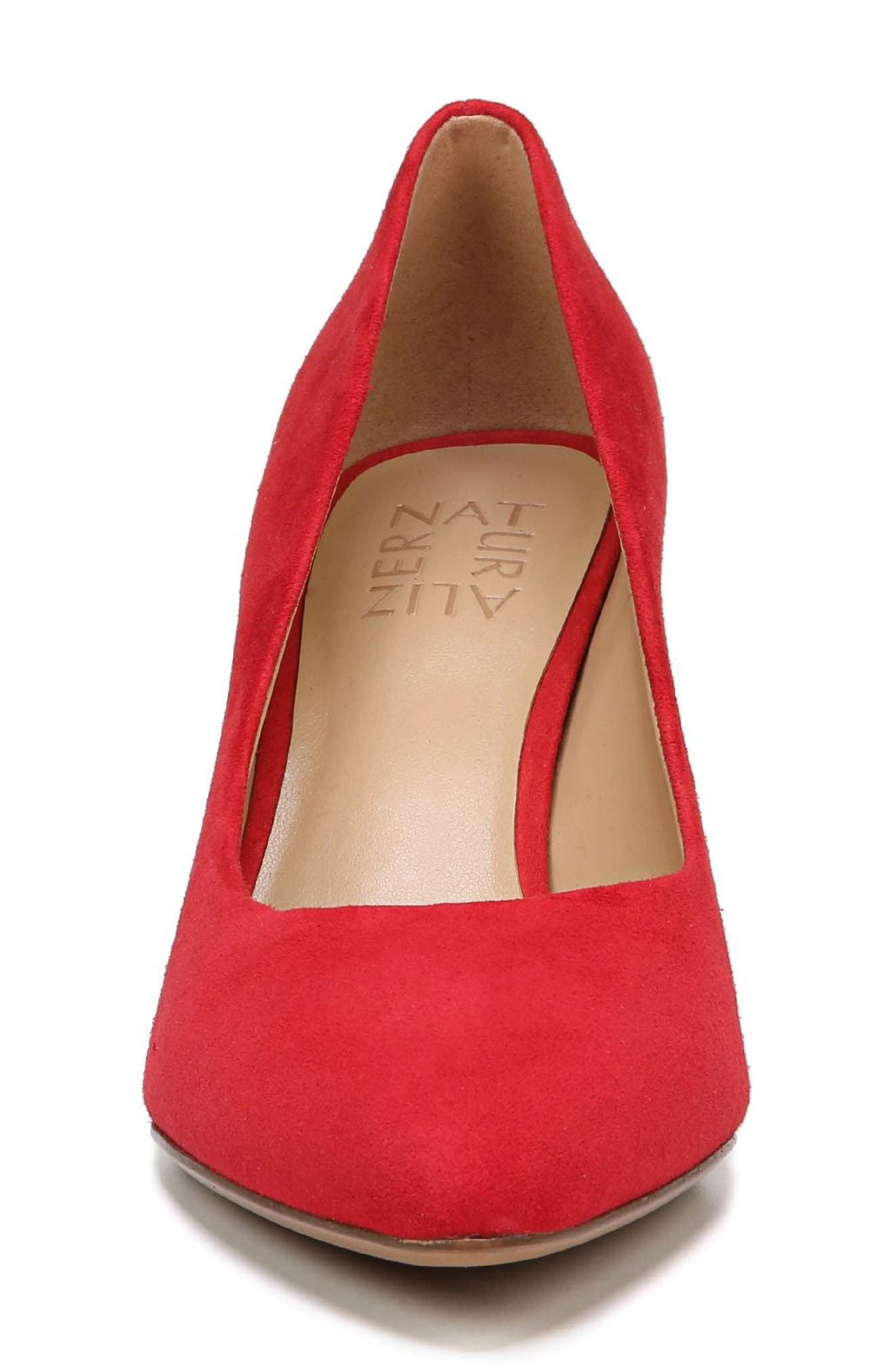 NATURALIZER, Natalie Pointy Toe Pump, Alternate thumbnail 4, color, RED SUEDE