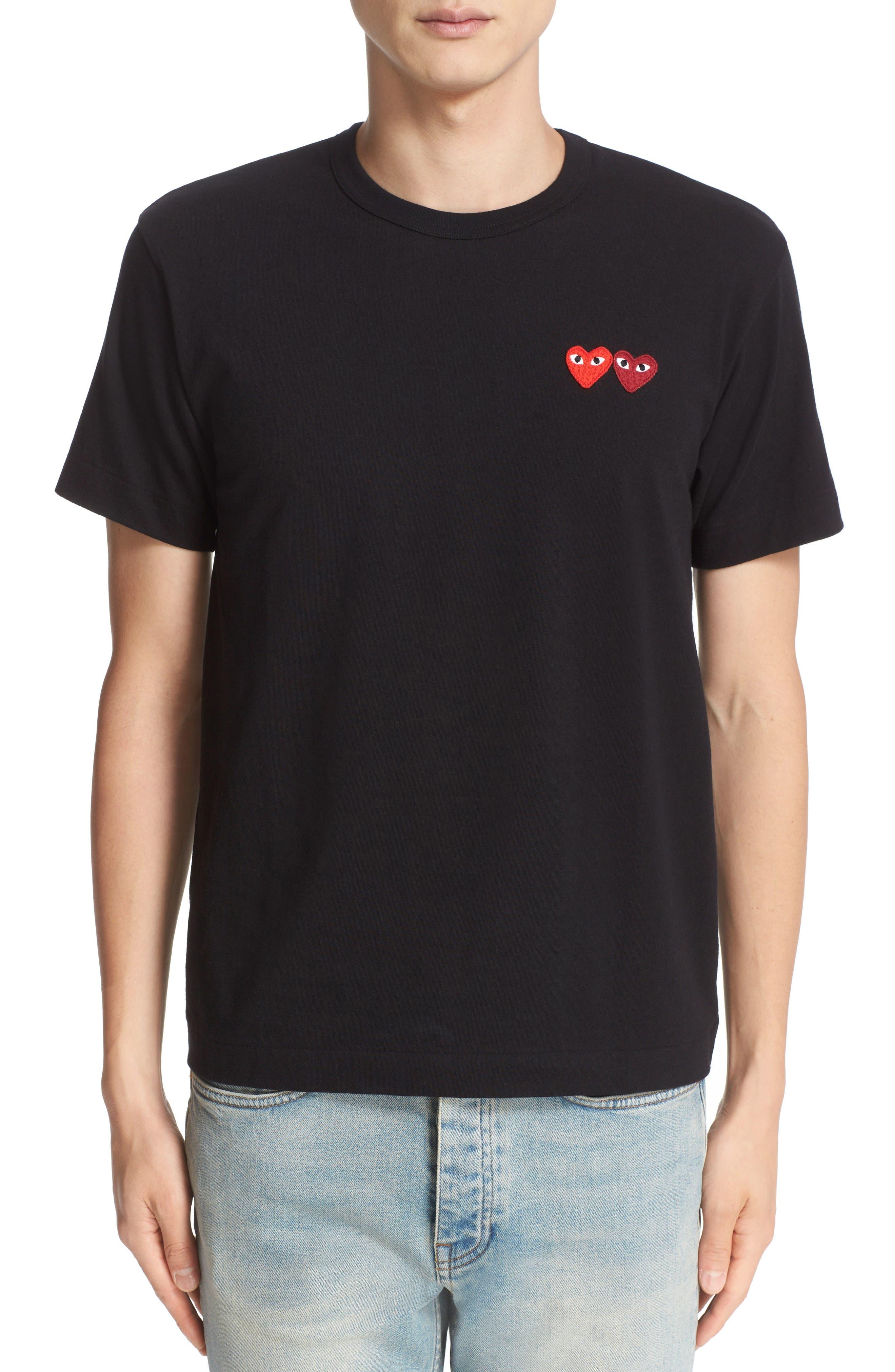 COMME DES GARÇONS PLAY, Twin Hearts Jersey T-Shirt, Main thumbnail 1, color, BLACK