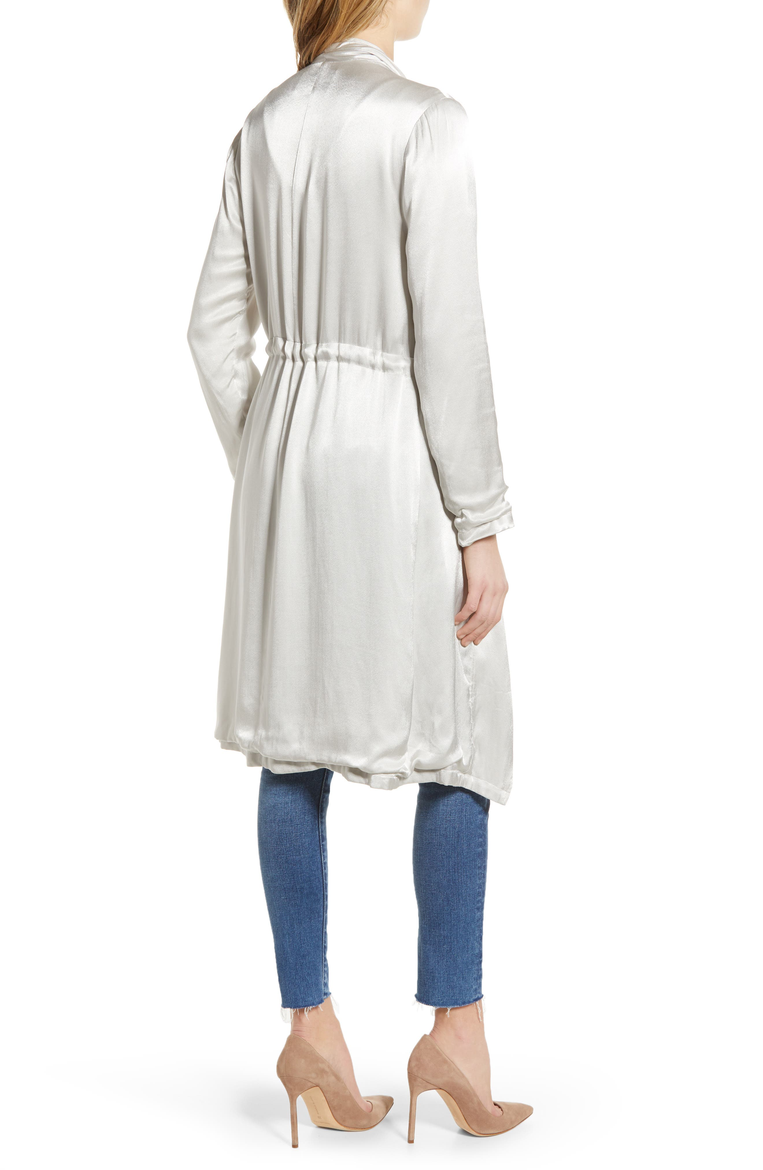 CUPCAKES AND CASHMERE, Drape Front Satin Trench Coat, Alternate thumbnail 2, color, 900