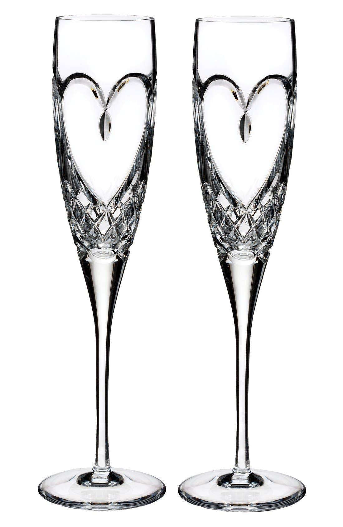WATERFORD, 'True Love' Lead Crystal Champagne Flutes, Main thumbnail 1, color, CLEAR