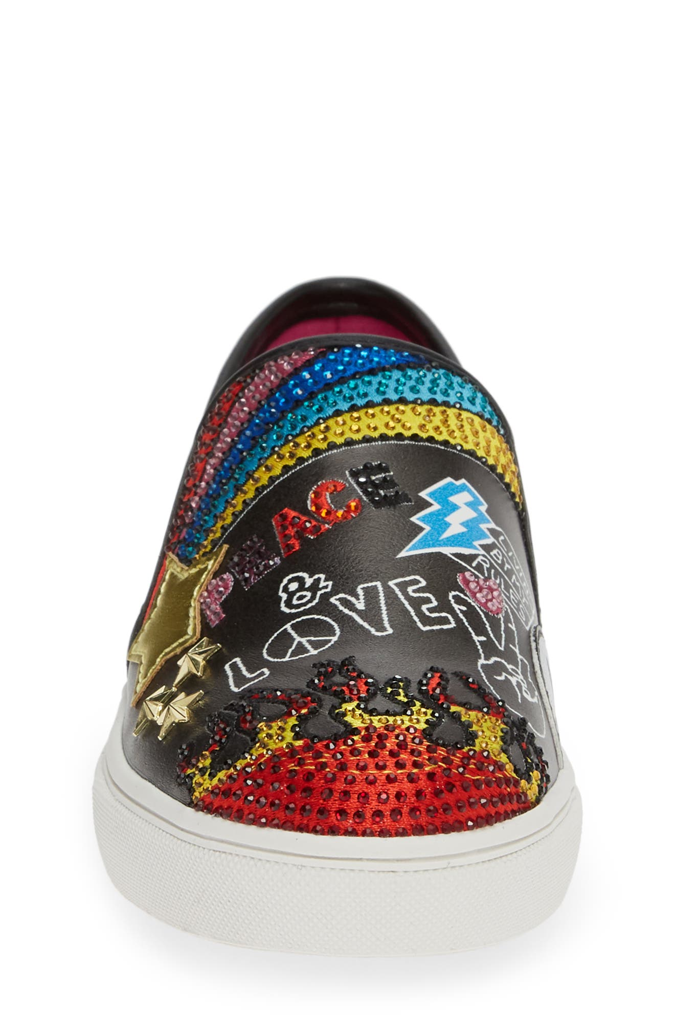 STEVE MADDEN, JPOWRFUL Embellished Slip-On Sneaker, Alternate thumbnail 4, color, BLACK MULTI