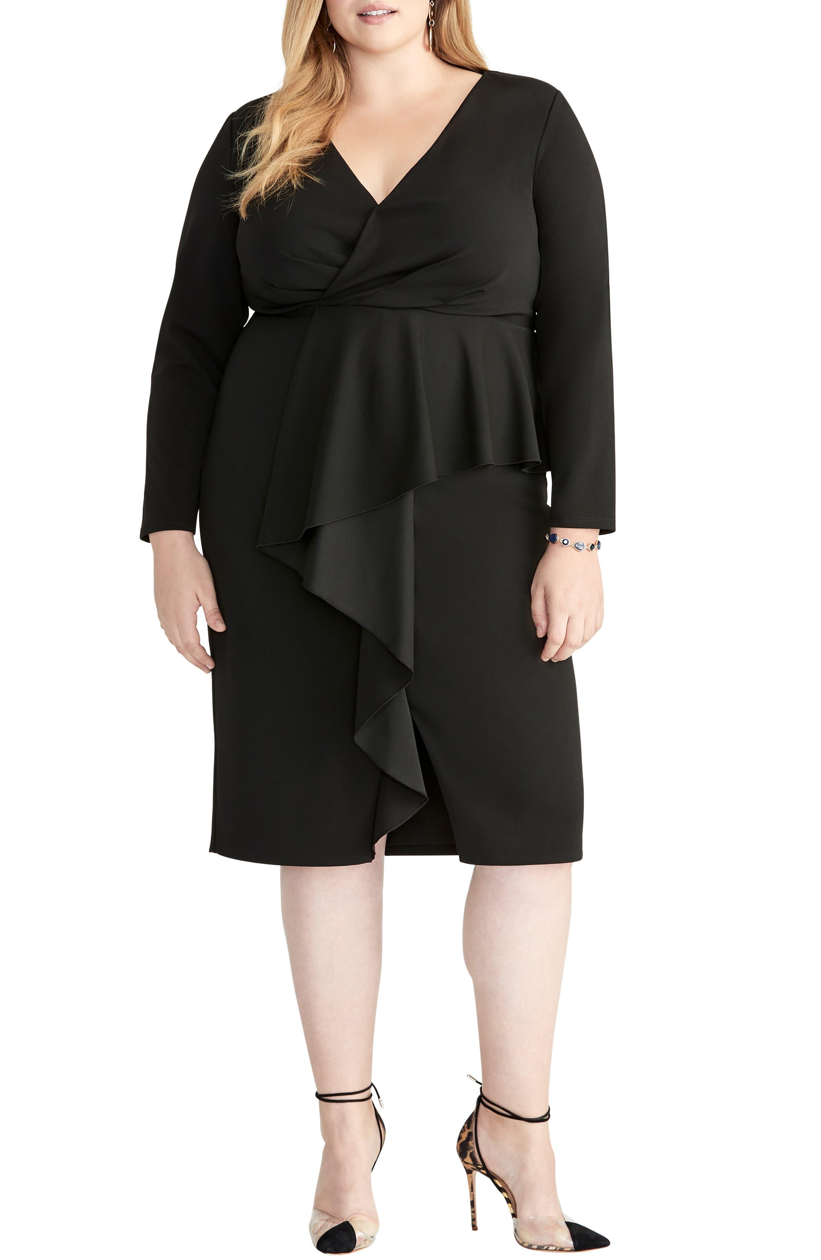 Plus Size Rachel Rachel Roy Ruffle Front Faux Wrap Dress, Black