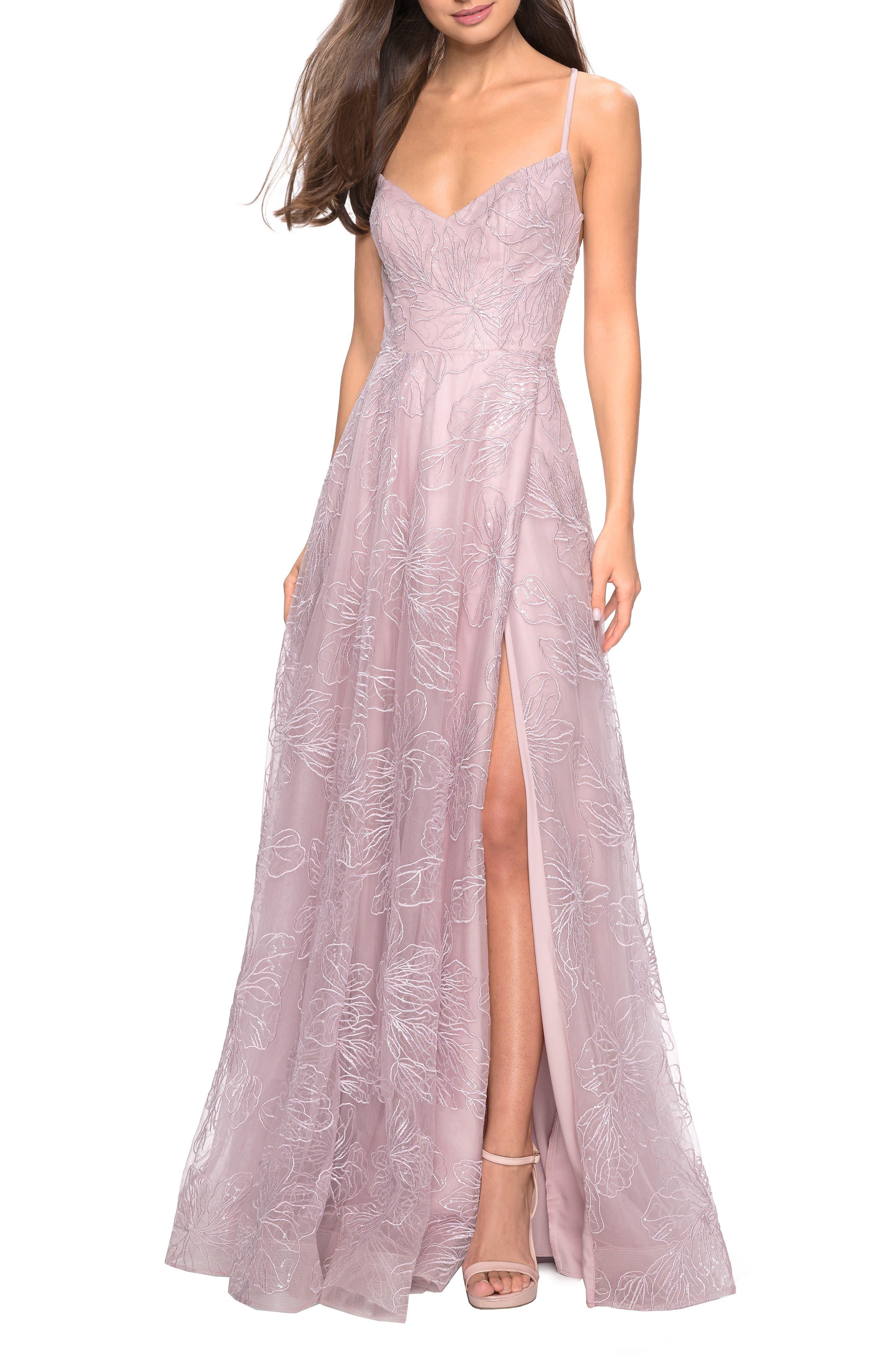LA FEMME, Metallic Floral Embellished Evening Dress, Alternate thumbnail 6, color, MAUVE