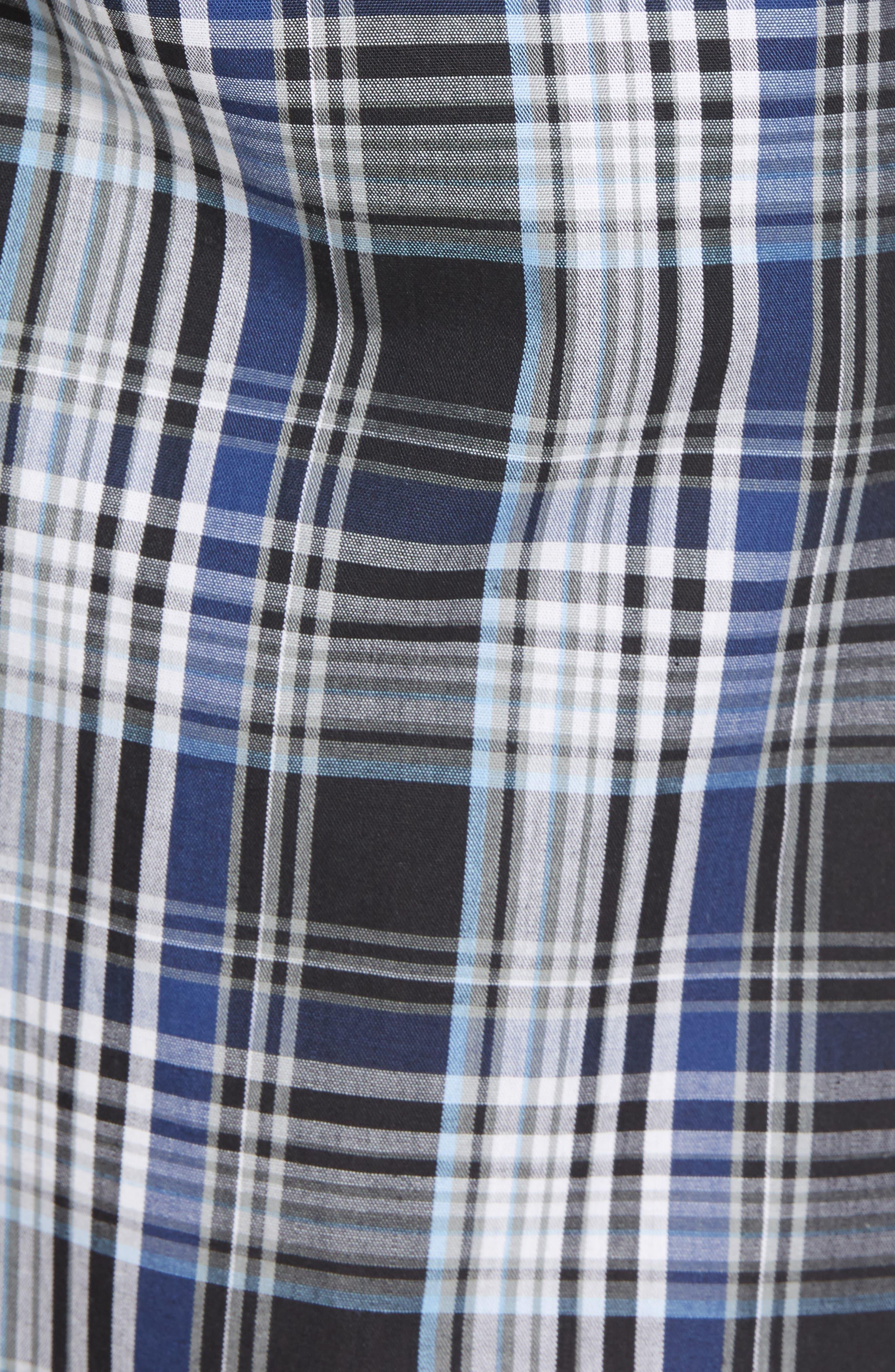 NORDSTROM MEN'S SHOP, Poplin Lounge Shorts, Alternate thumbnail 5, color, BLACK TWILIGHT BLUE PLAID