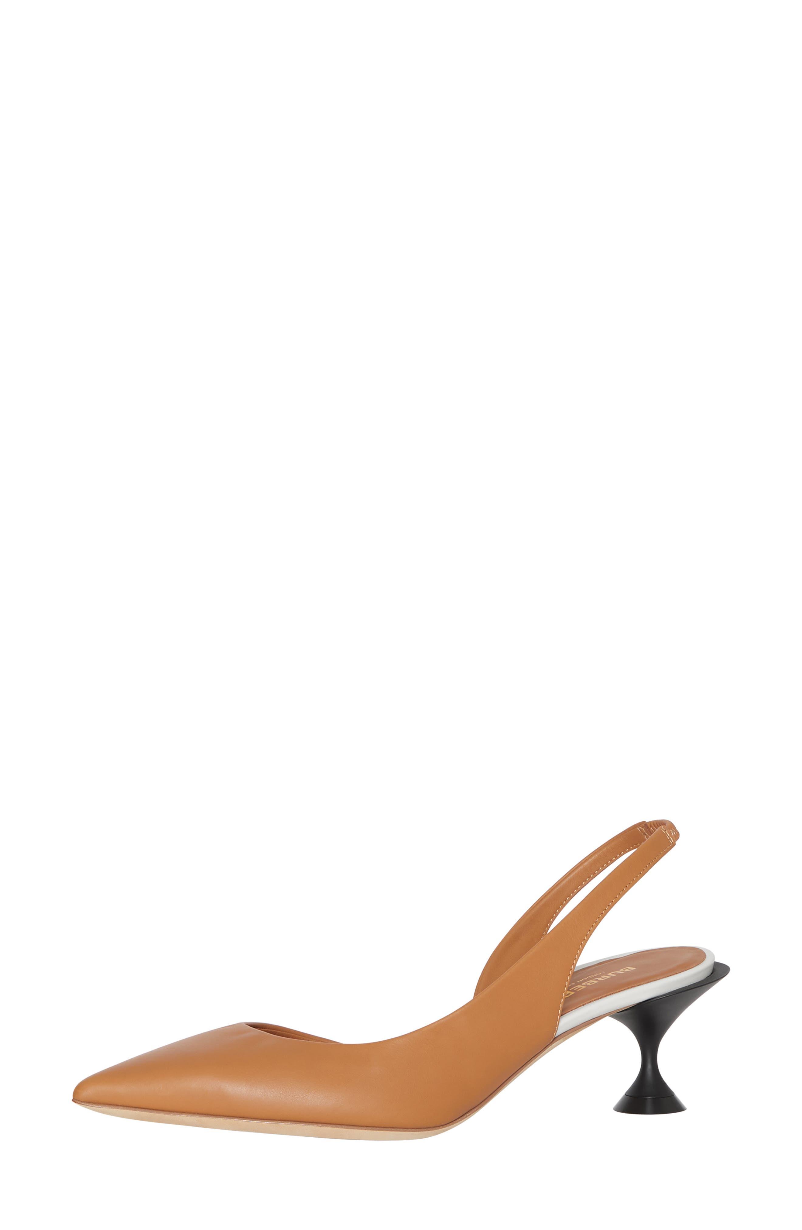 BURBERRY, Leticia Check Slingback Pump, Alternate thumbnail 8, color, CAMEL