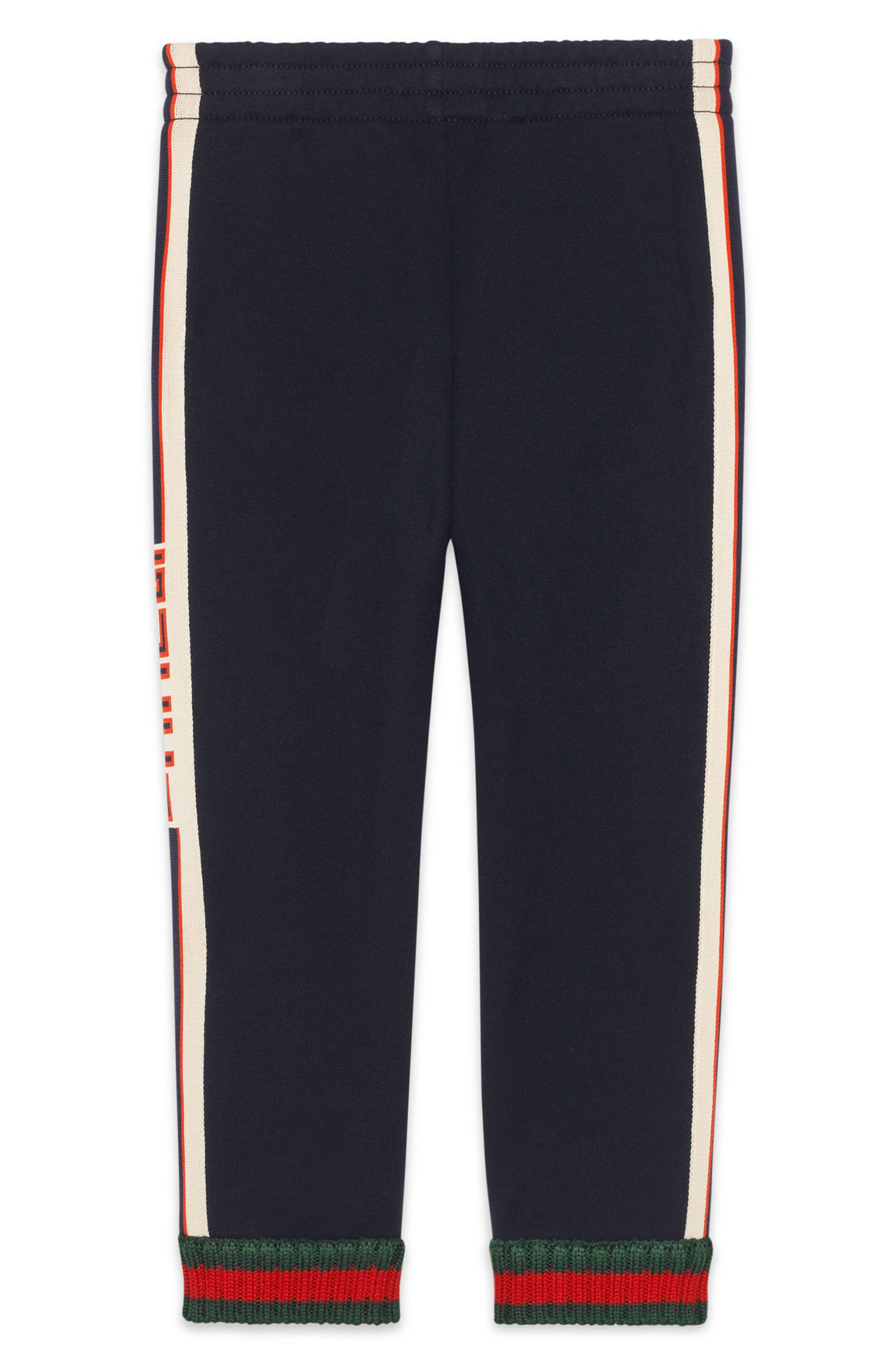 GUCCI, Logo Stripe Jogging Pants, Alternate thumbnail 2, color, PERIWINKLE/ RED