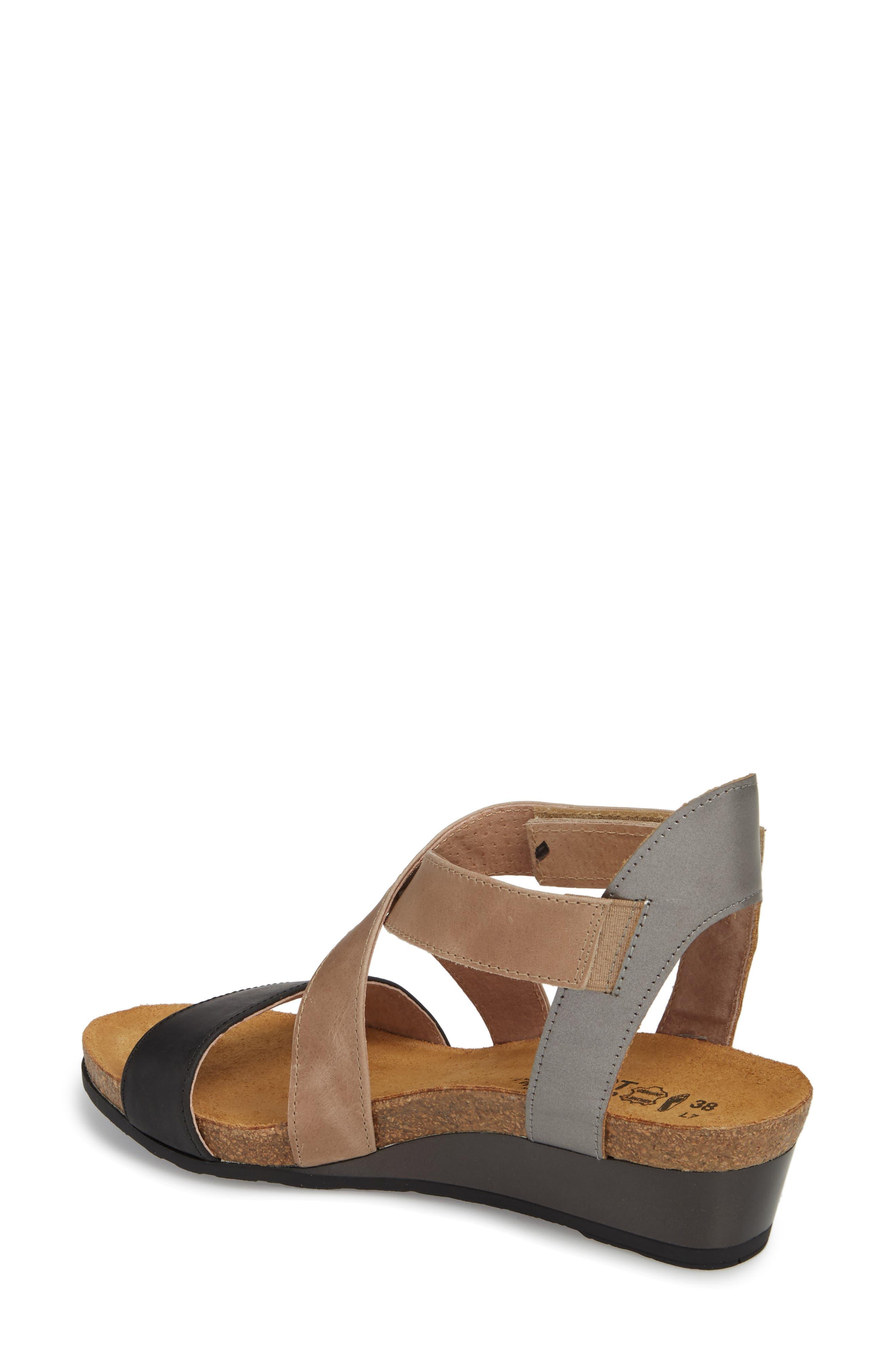 NAOT, Vixen Wedge Sandal, Alternate thumbnail 2, color, OILY COAL LEATHER