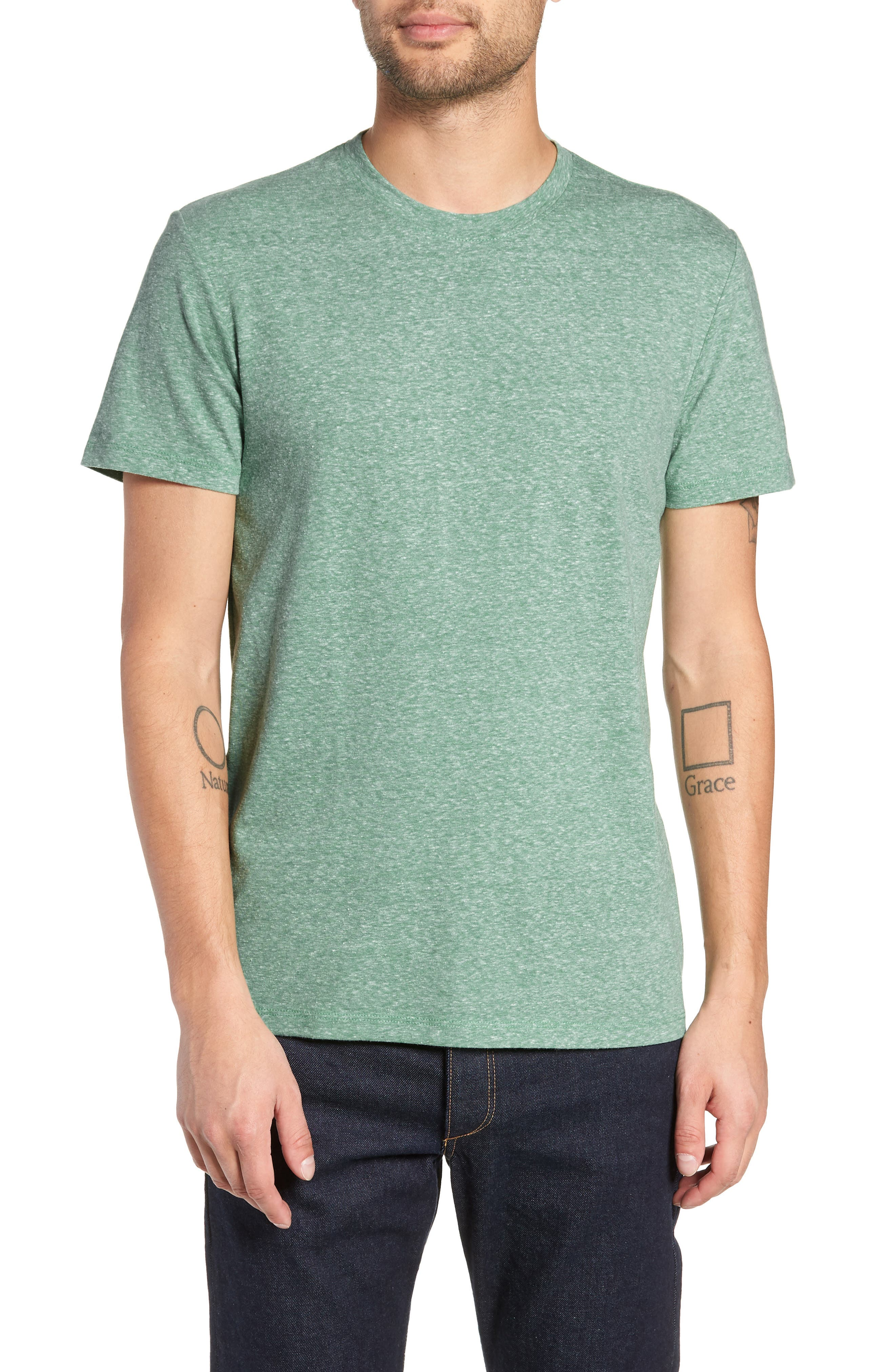 THE RAIL Solid Crewneck T-Shirt, Main, color, GREEN FROSTY