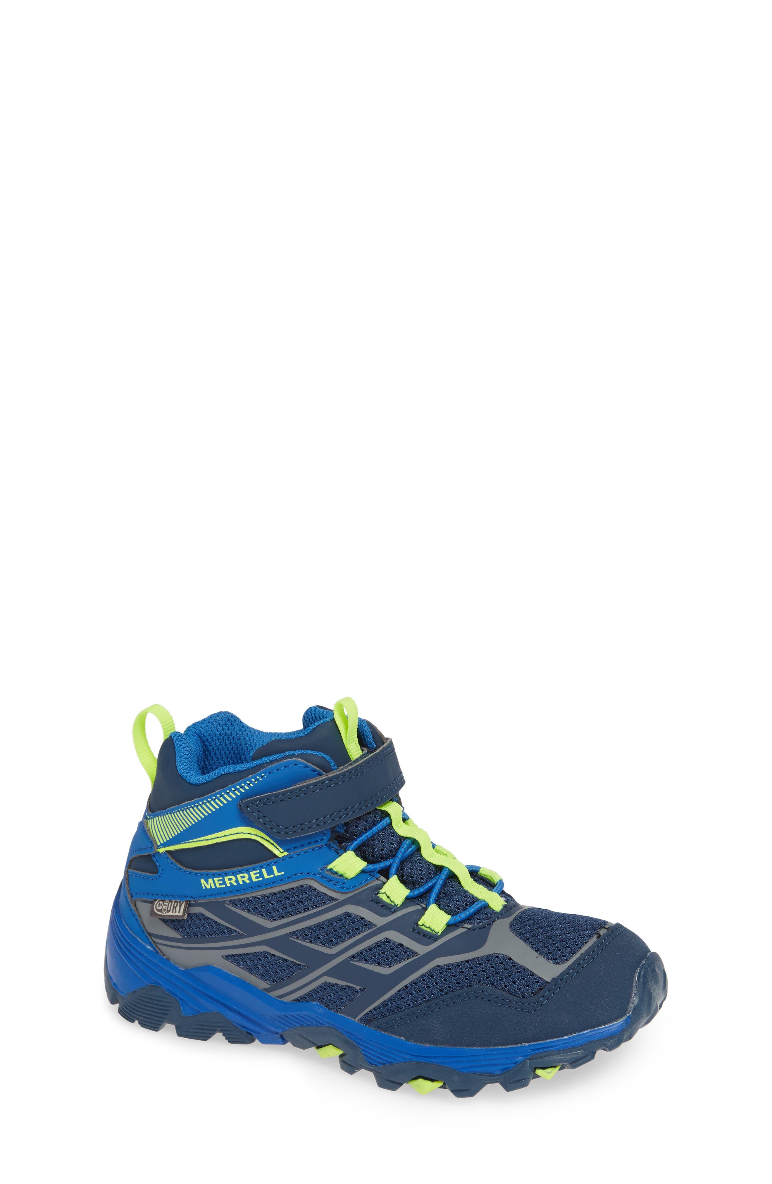 MERRELL, Moab FST Mid Top Waterproof Sneaker Boot, Main thumbnail 1, color, NAVY/ COBALT