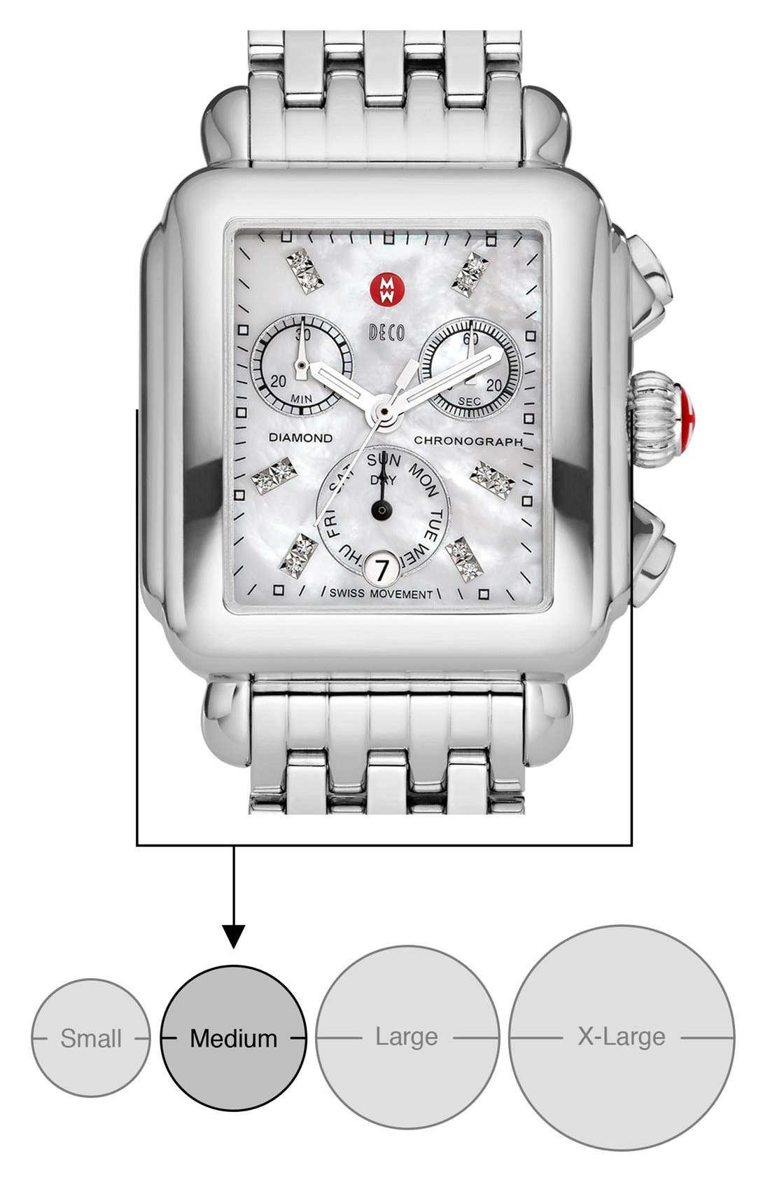 MICHELE, Deco Diamond Dial Watch Case, 33mm x 35mm, Alternate thumbnail 5, color, SILVER