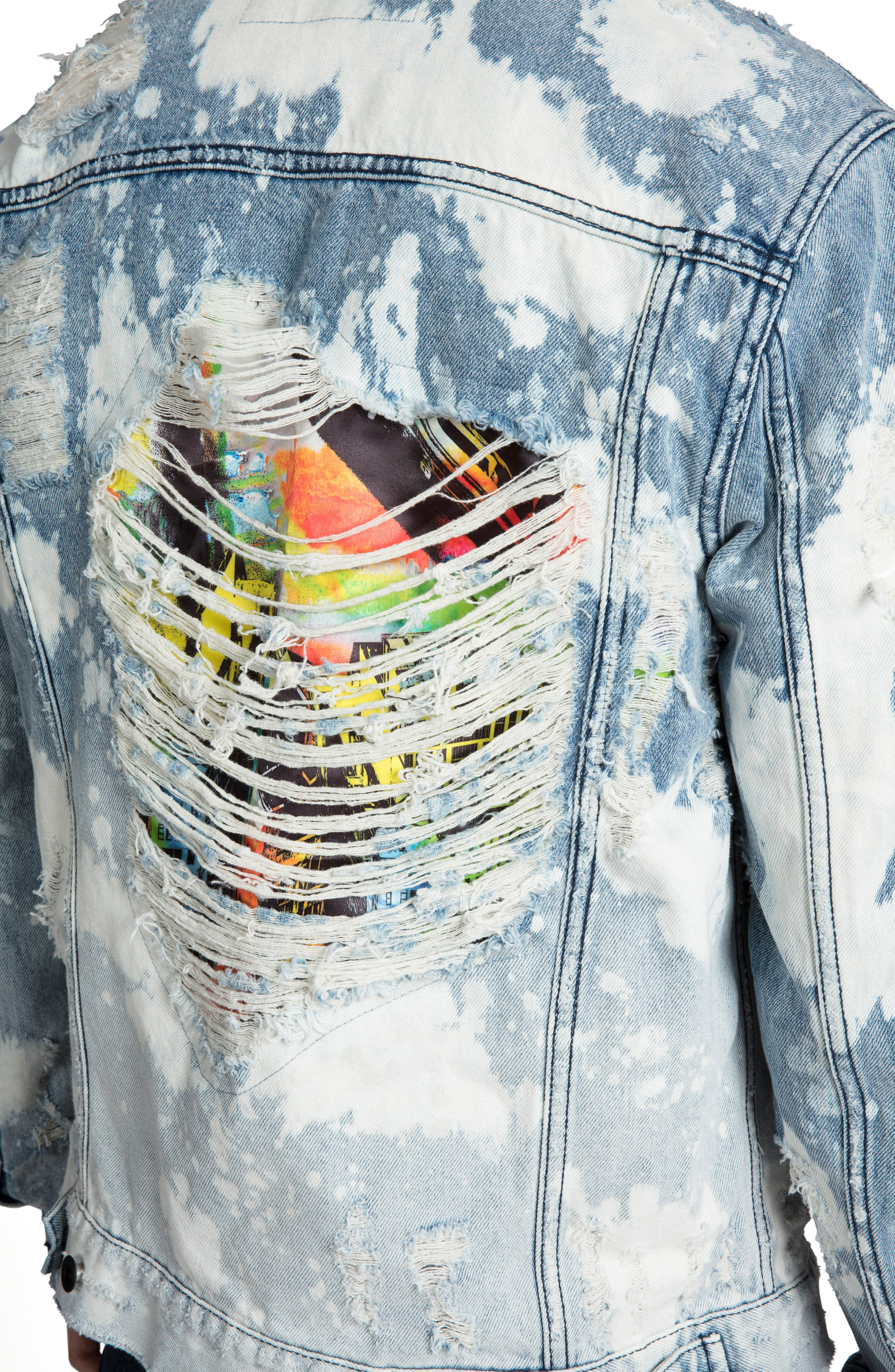 PRPS, City Scapes Ripped Denim Jacket, Alternate thumbnail 4, color, GUILTLESS