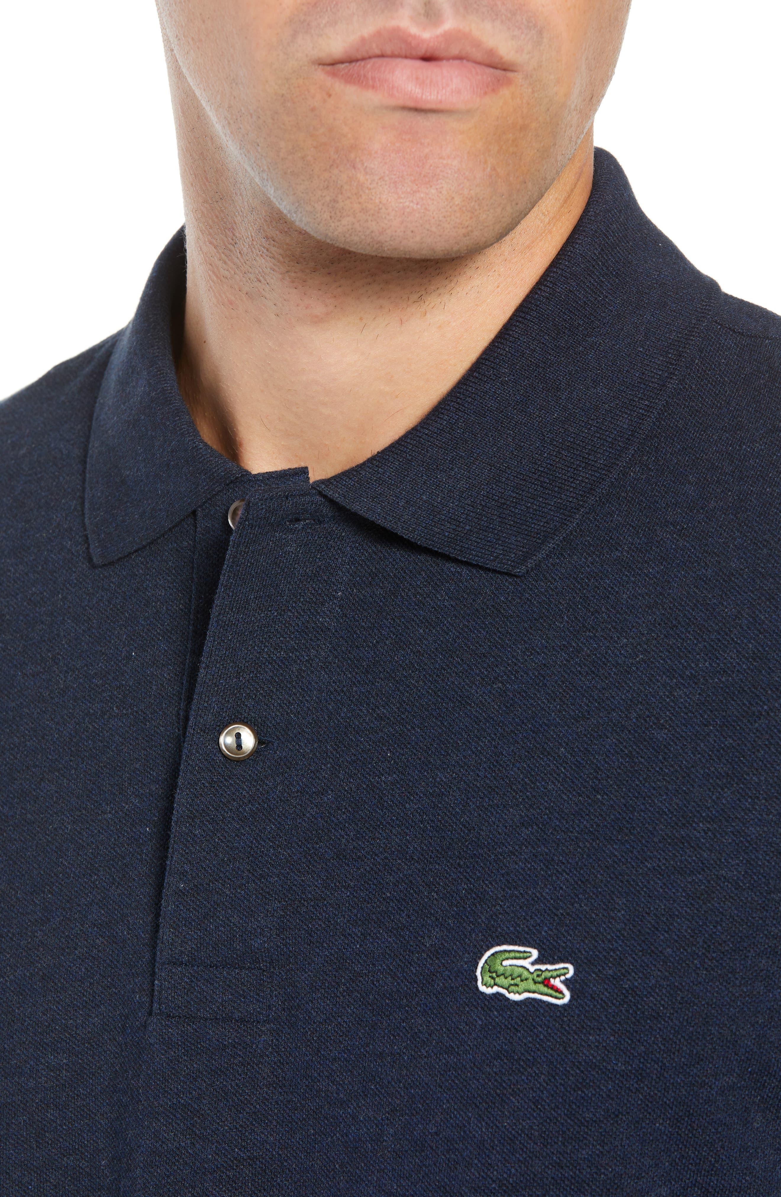 LACOSTE, Long Sleeve Piqué Polo, Alternate thumbnail 4, color, ECLIPSE BLUE CHINE