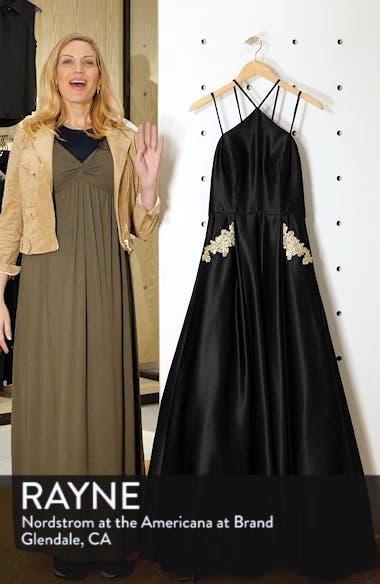 Halter Neck Embellished Pocket Satin Evening Dress, sales video thumbnail