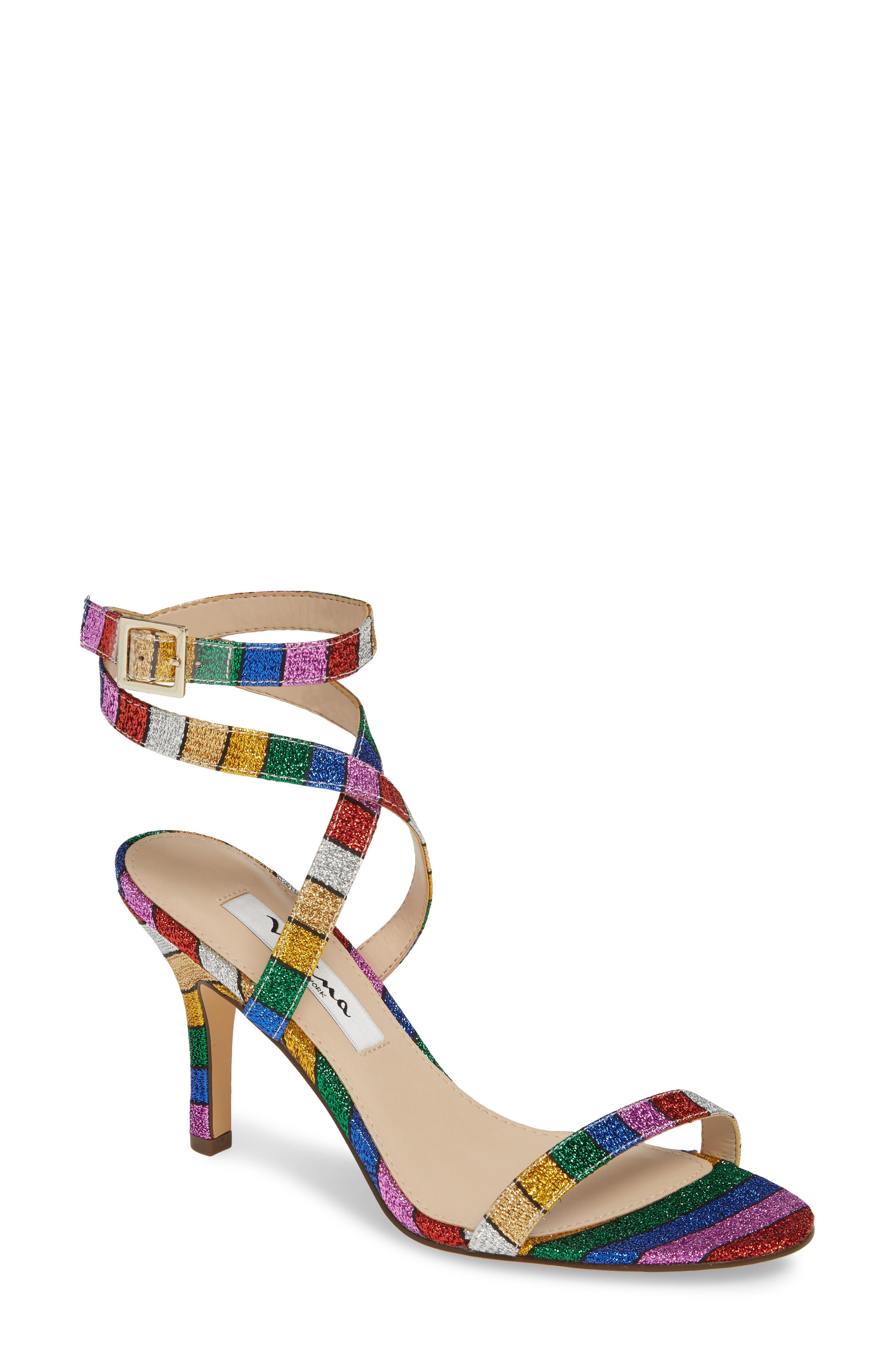 NINA, Vanna Ankle Strap Sandal, Main thumbnail 1, color, RAINBOW MULTI FABRIC
