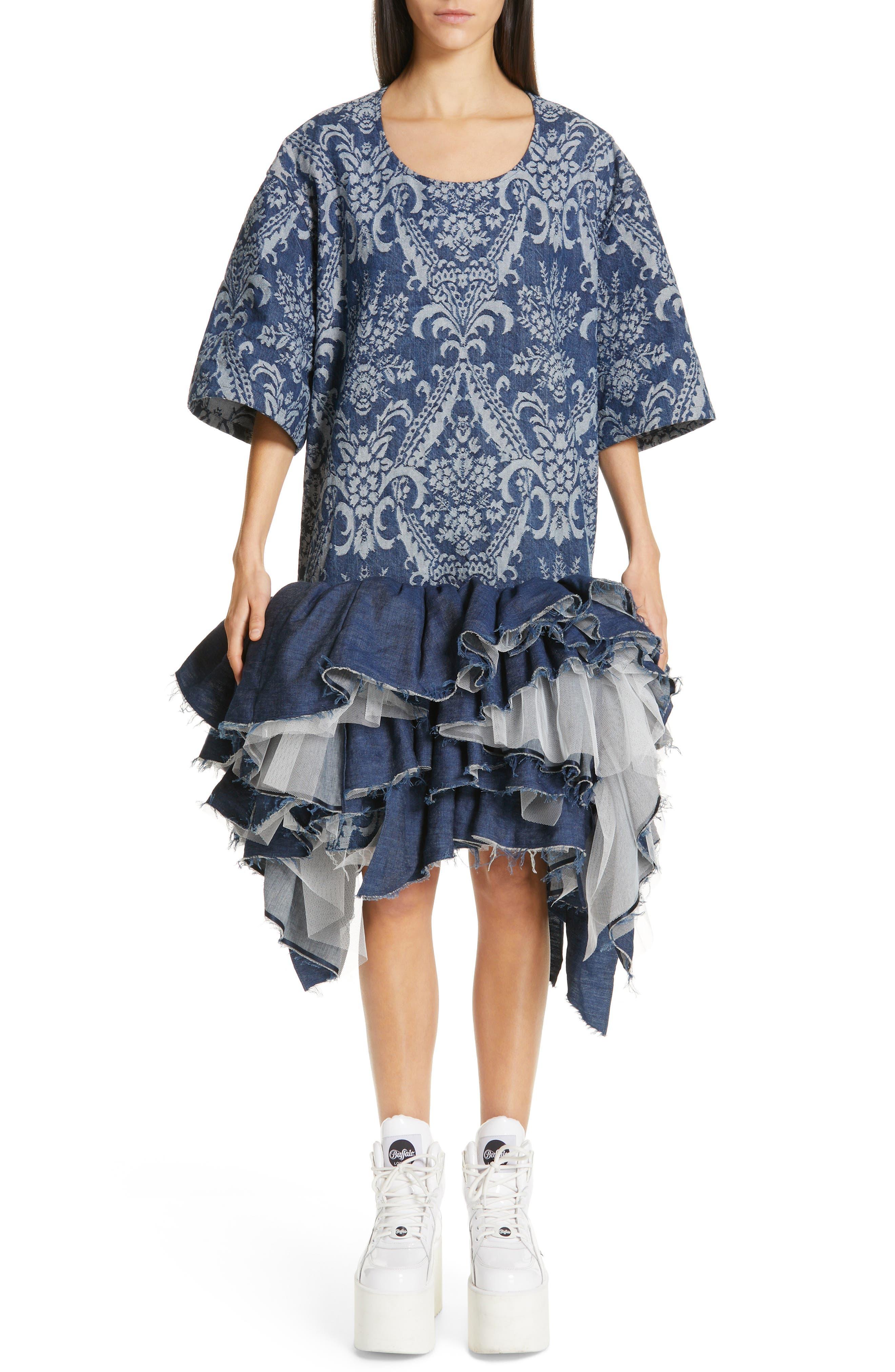 Junya Watanabe Denim Jacquard Tulle Dress, Blue