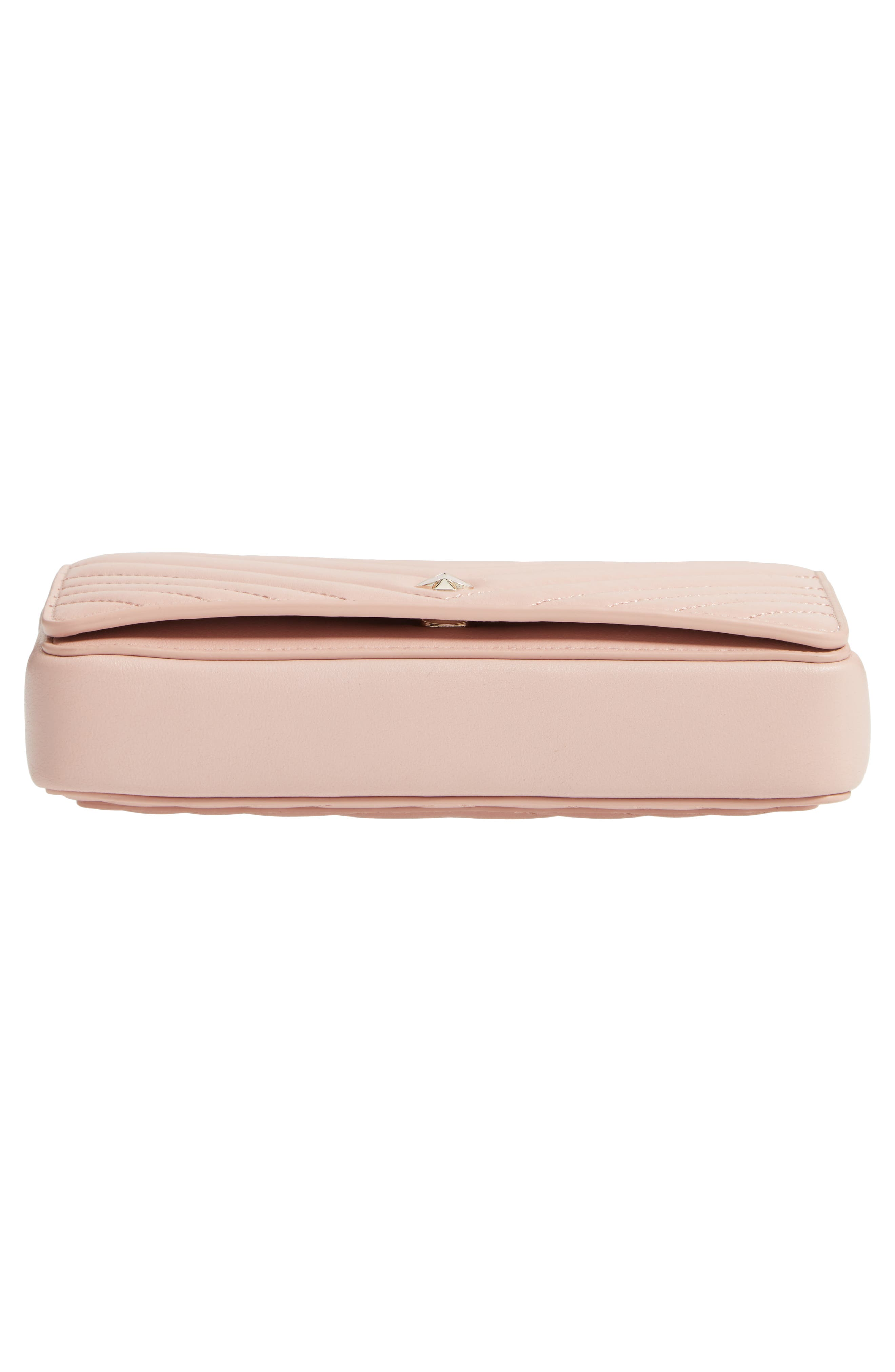 KATE SPADE NEW YORK, amelia quilted leather clutch, Alternate thumbnail 6, color, FLAPPER PINK