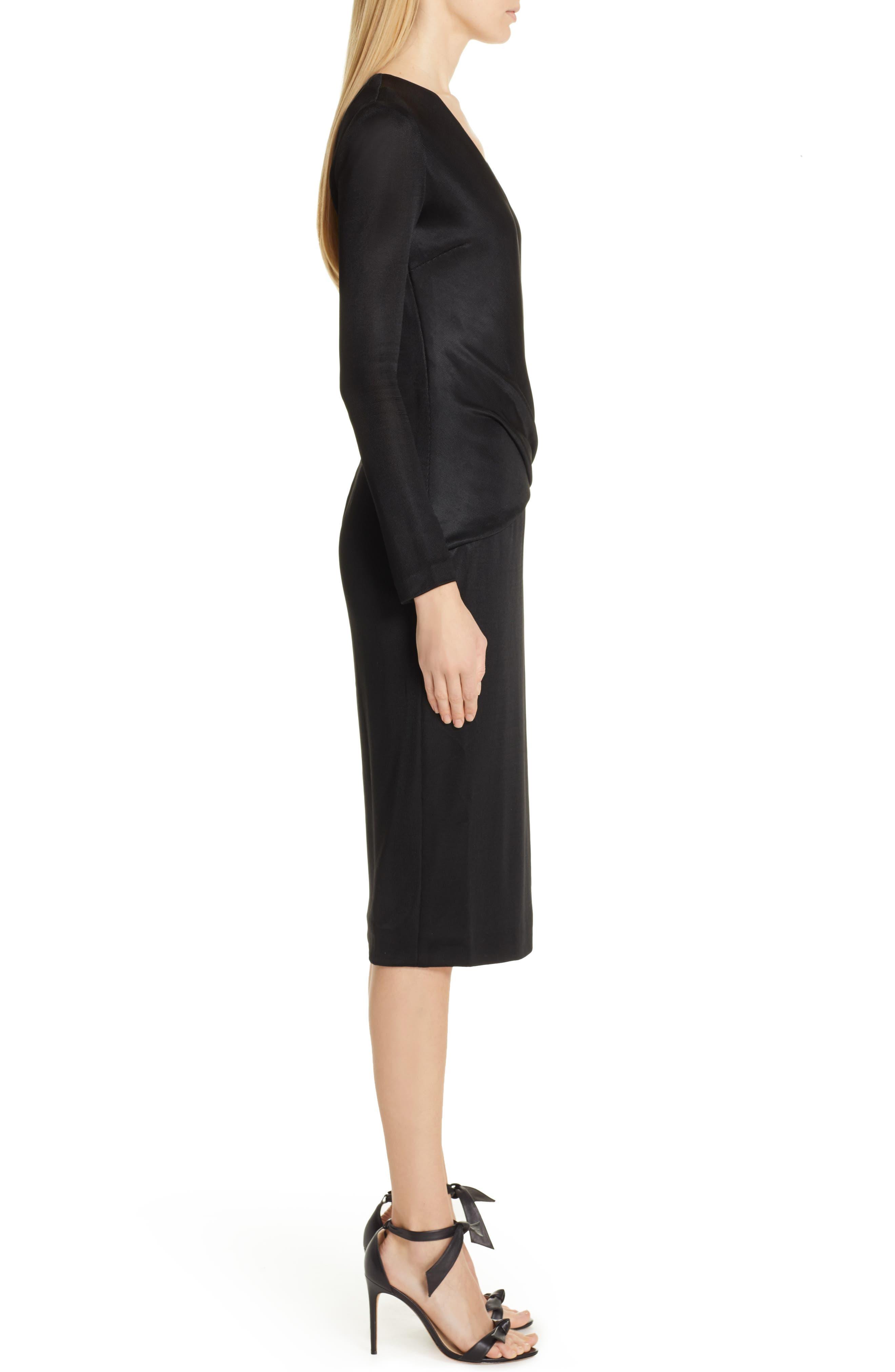 CUSHNIE, Sahara Pencil Dress, Alternate thumbnail 4, color, BLACK