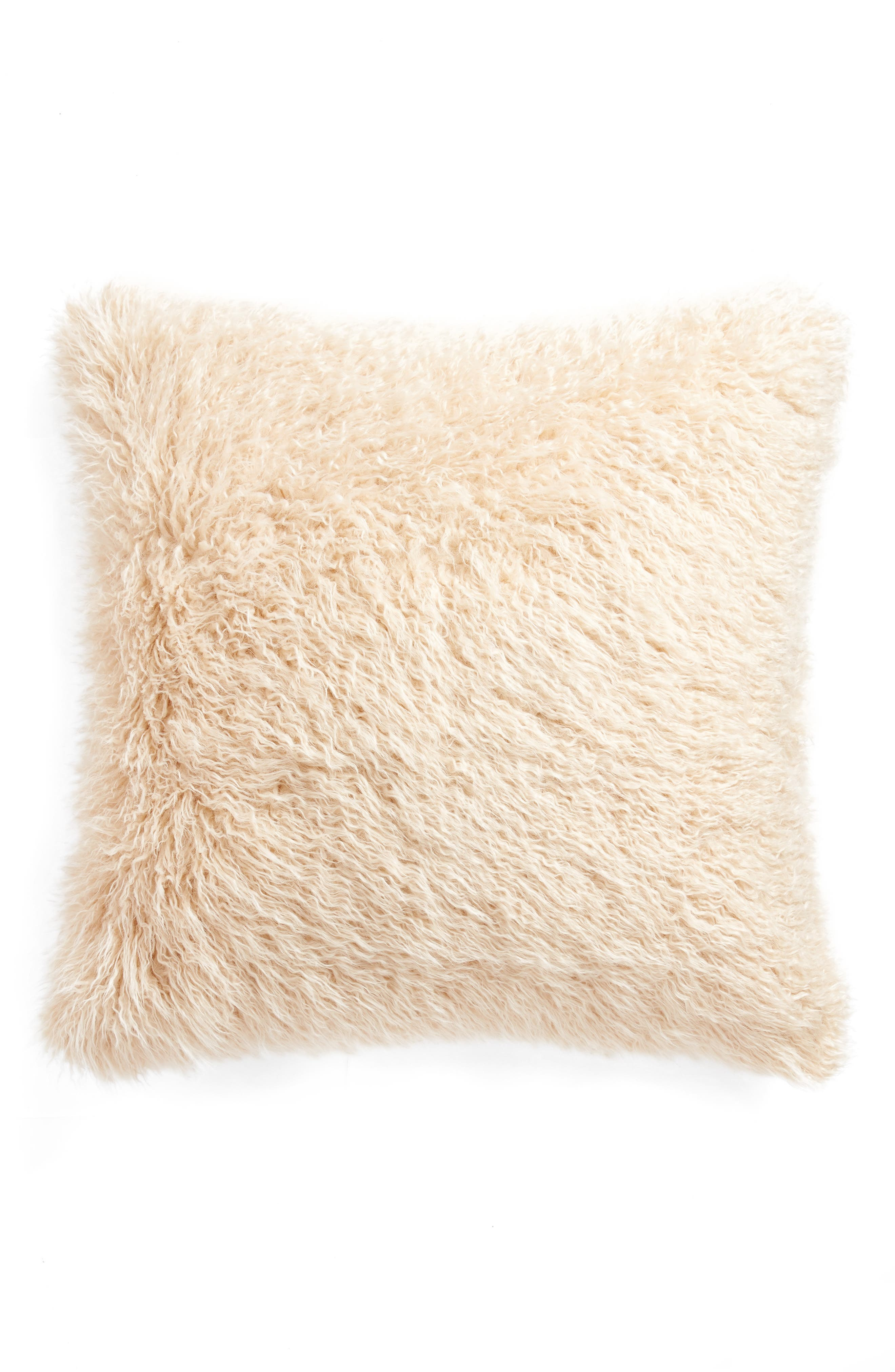 TREASURE & BOND, Curly Faux Fur Pillow, Main thumbnail 1, color, BEIGE BEACH