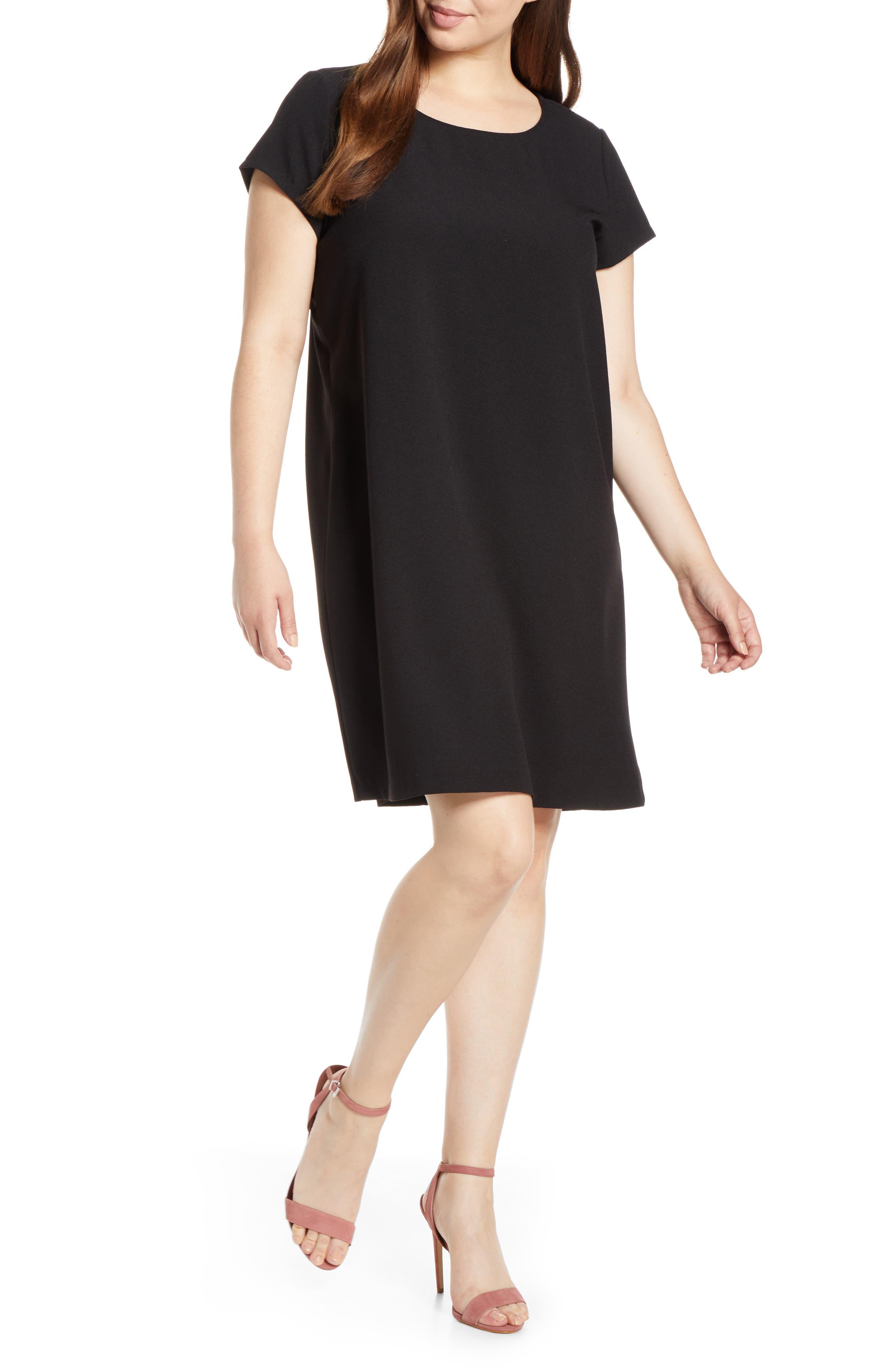 CHELSEA28, Crepe Shift Dress, Alternate thumbnail 2, color, BLACK