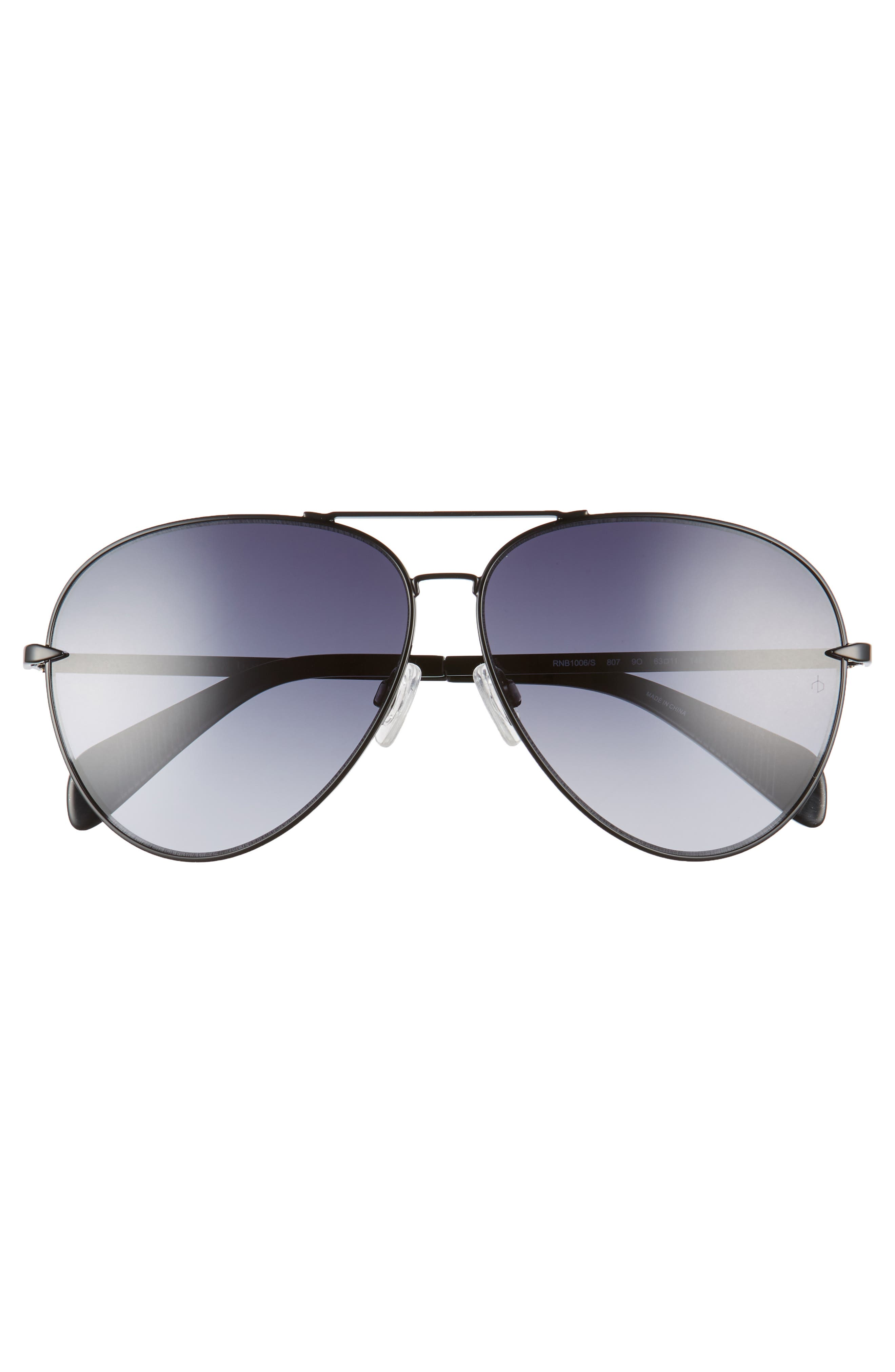 RAG & BONE, 63mm Oversize Aviator Sunglasses, Alternate thumbnail 3, color, BLACK