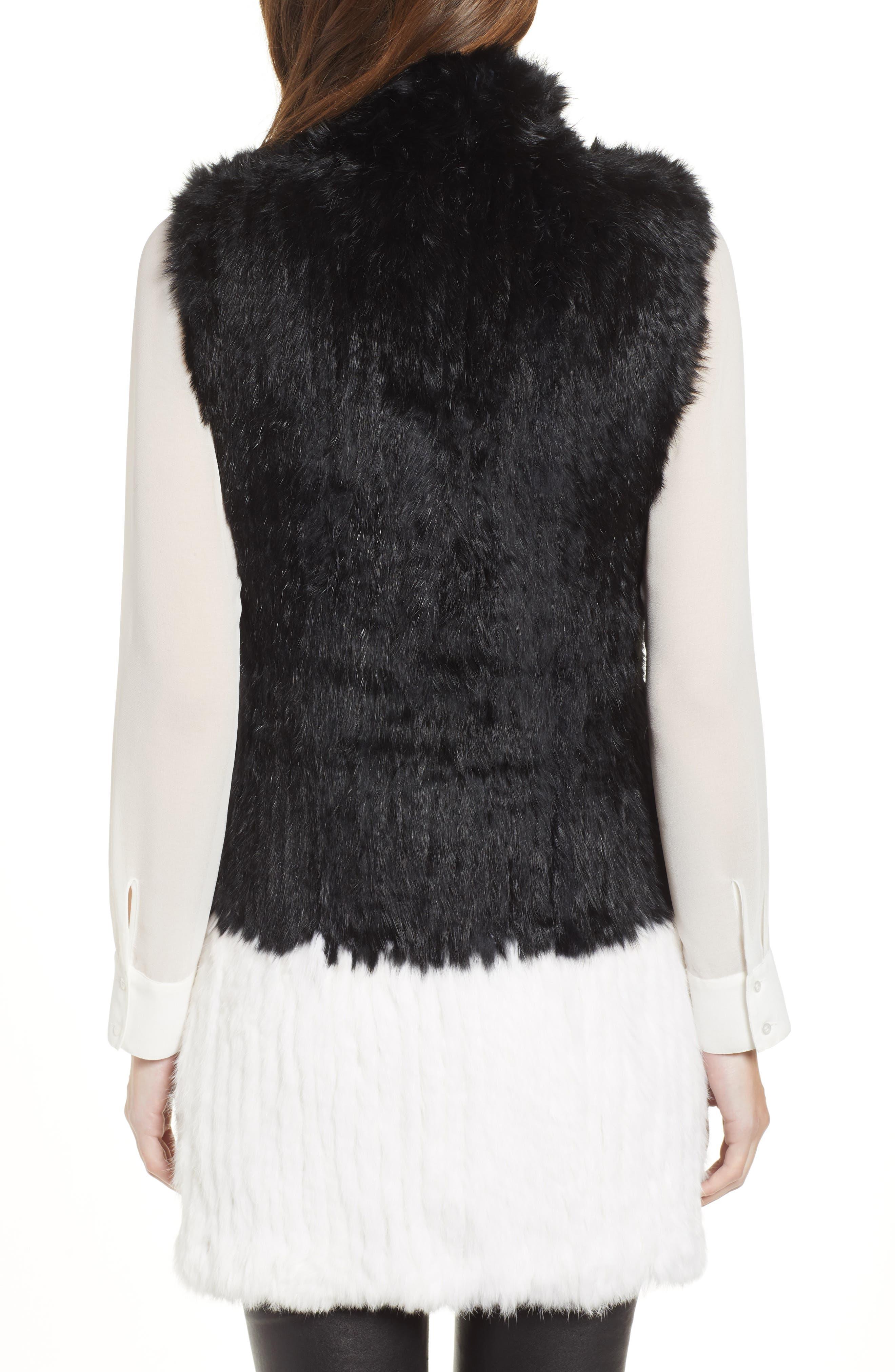 LOVE TOKEN, Long Colorblock Genuine Rabbit Fur Vest, Alternate thumbnail 2, color, 001