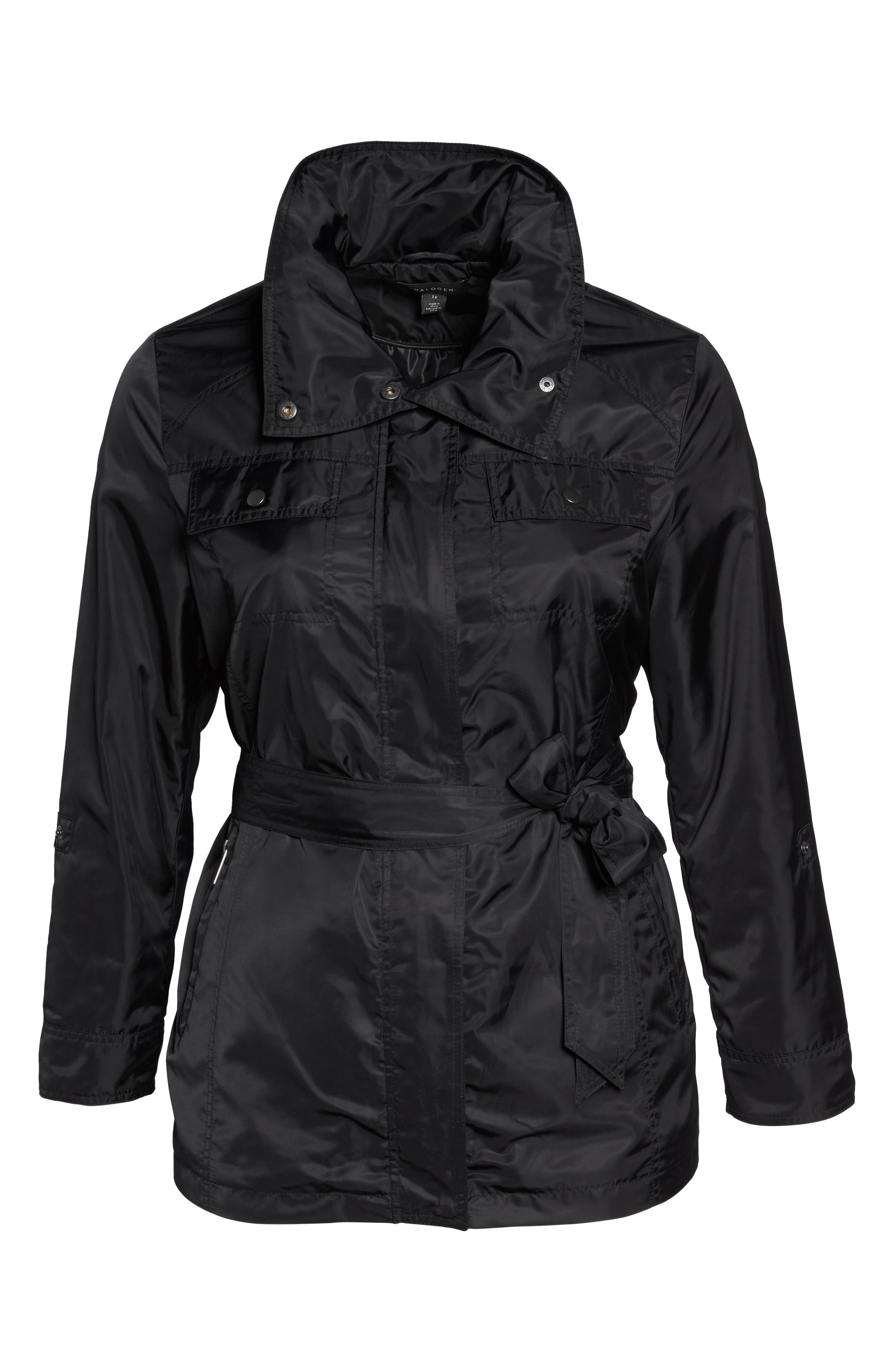 HALOGEN<SUP>®</SUP>, Belted Lightweight Jacket, Alternate thumbnail 6, color, BLACK