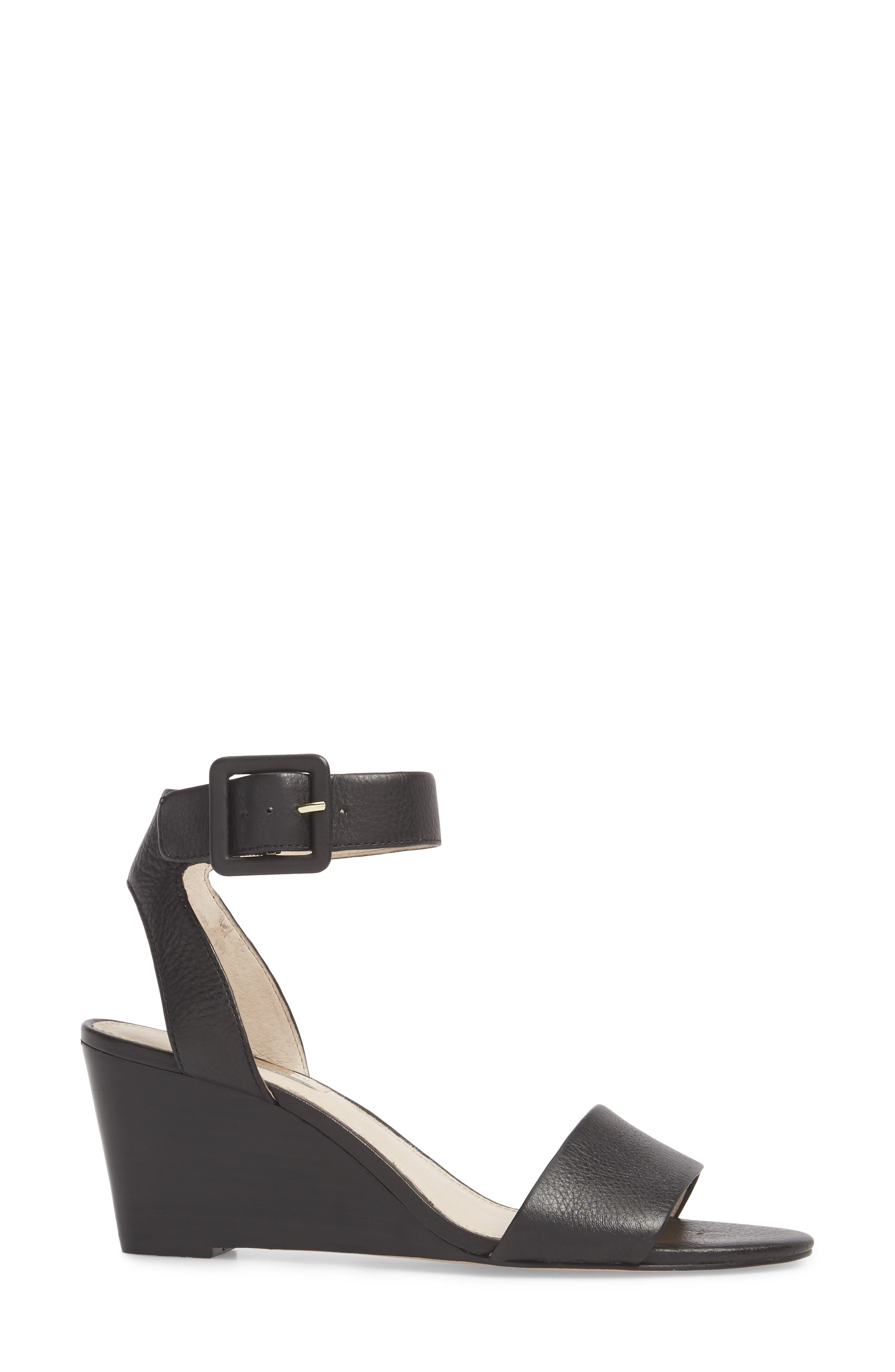 LOUISE ET CIE, Punya Wedge Sandal, Alternate thumbnail 3, color, BLACK LEATHER
