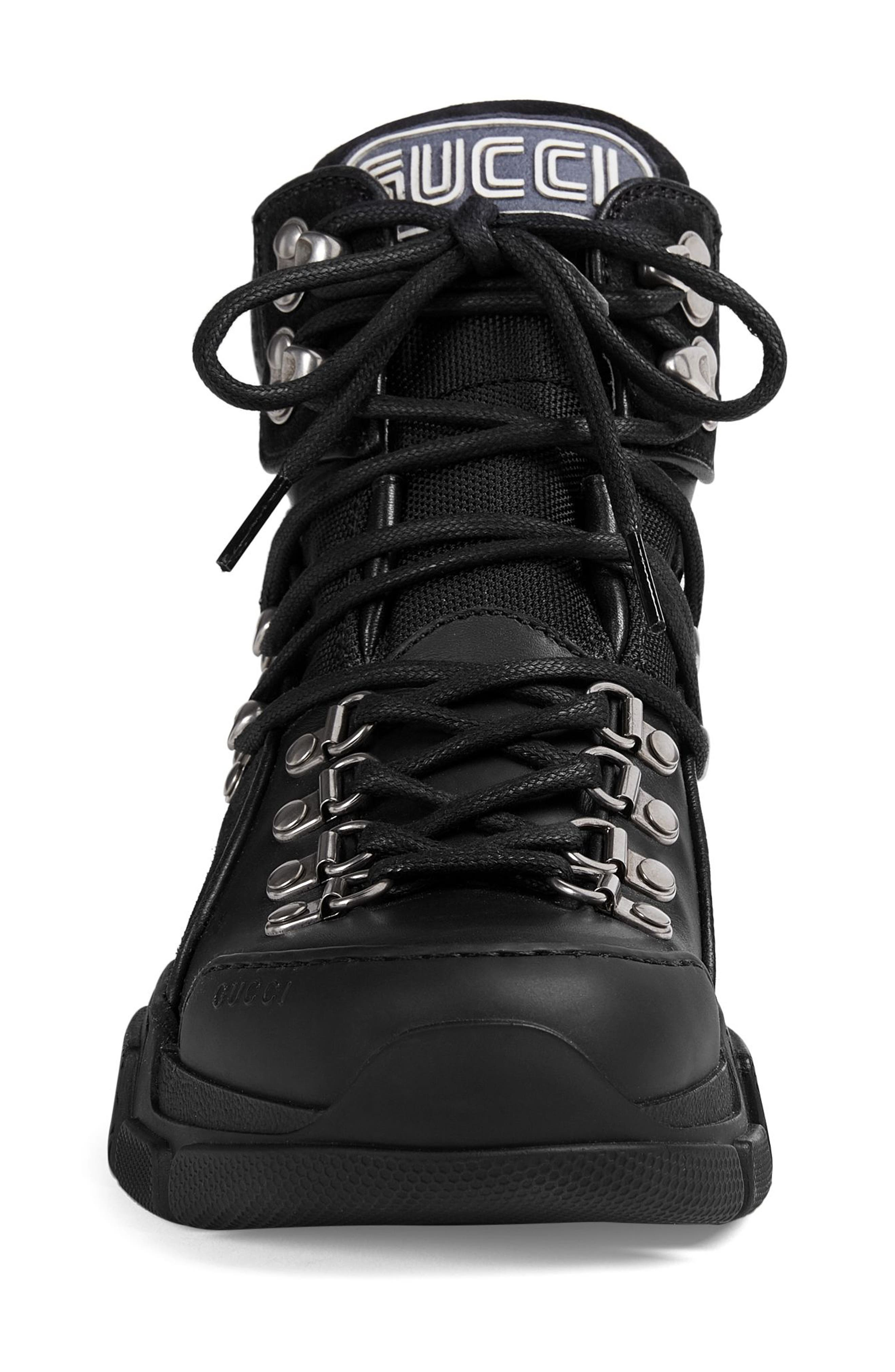 GUCCI, Lace-Up Boot, Alternate thumbnail 3, color, BLACK