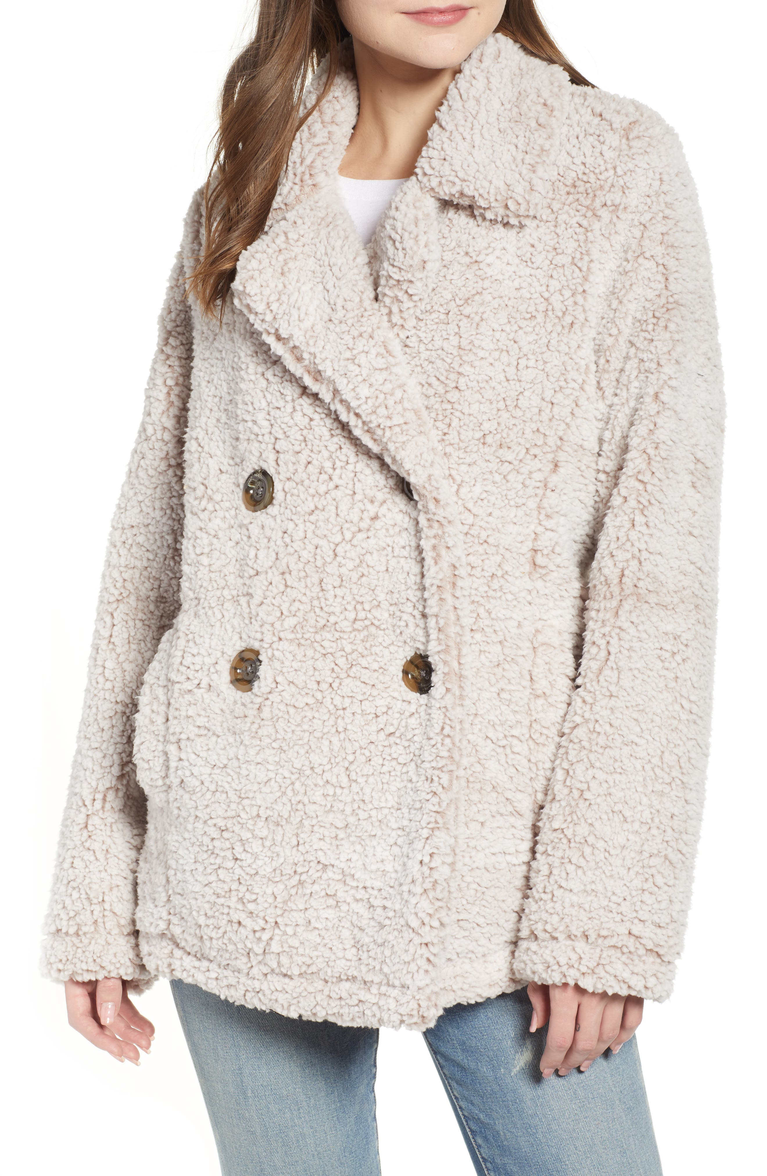 THREAD & SUPPLY, Double Breasted Fleece Coat, Alternate thumbnail 5, color, SMOKE ROSE