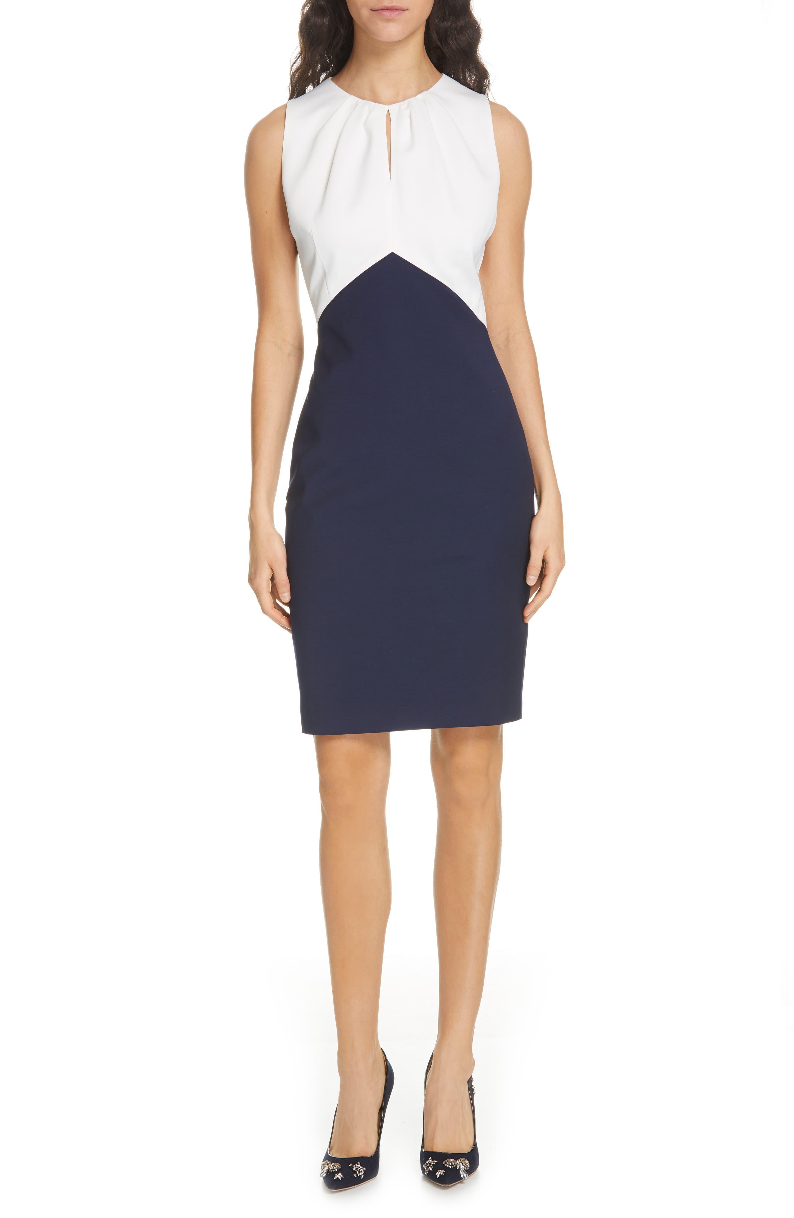 Ted Baker London Zamelid Mock 2-Piece Sheath Dress, Blue