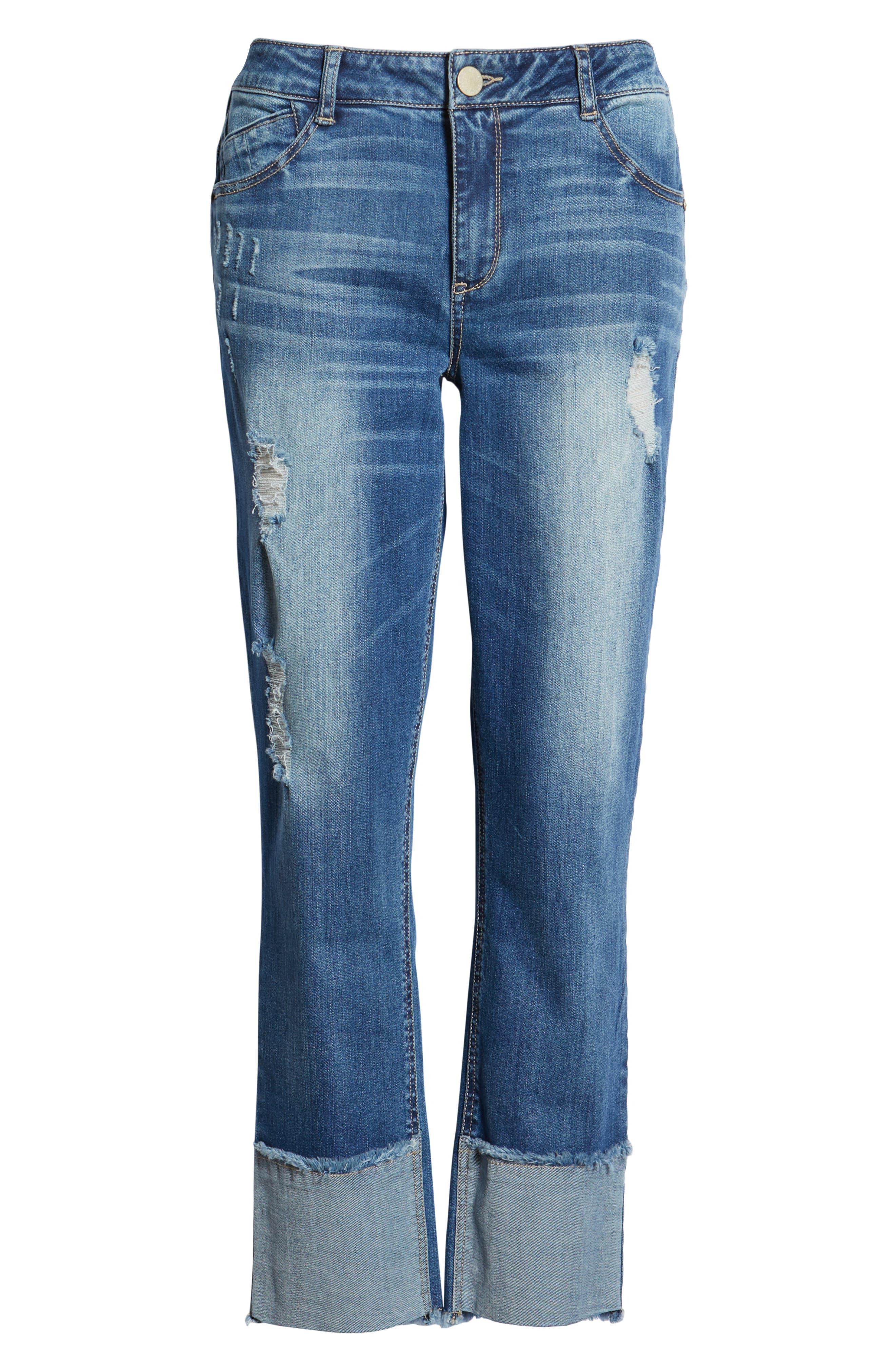 WIT & WISDOM, Flex-ellent Distressed Straight Leg Jeans, Alternate thumbnail 7, color, BLUE
